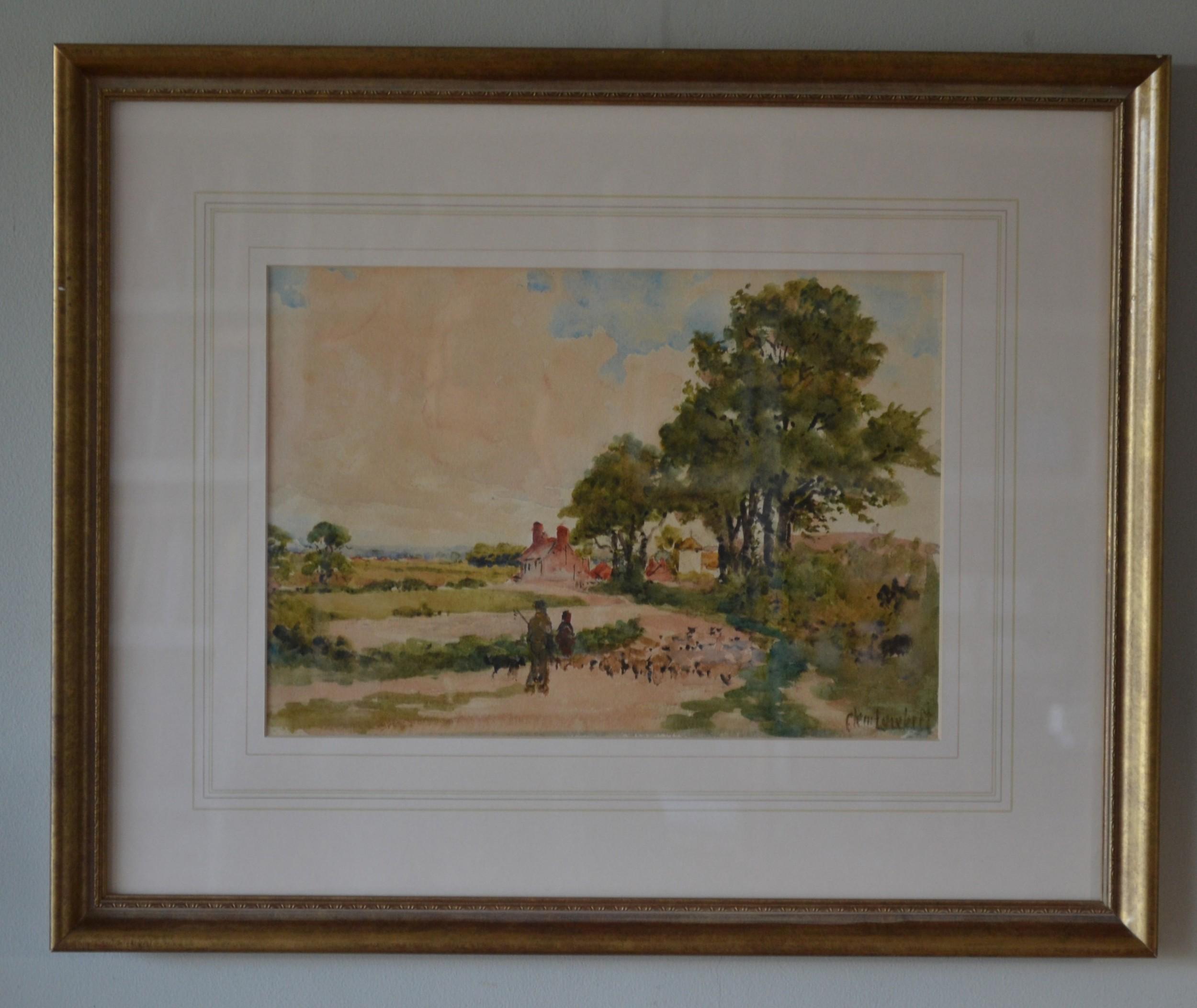 herding sheep towards botolphs near bramber west sussex1888 watercolour clem lambert 18551925