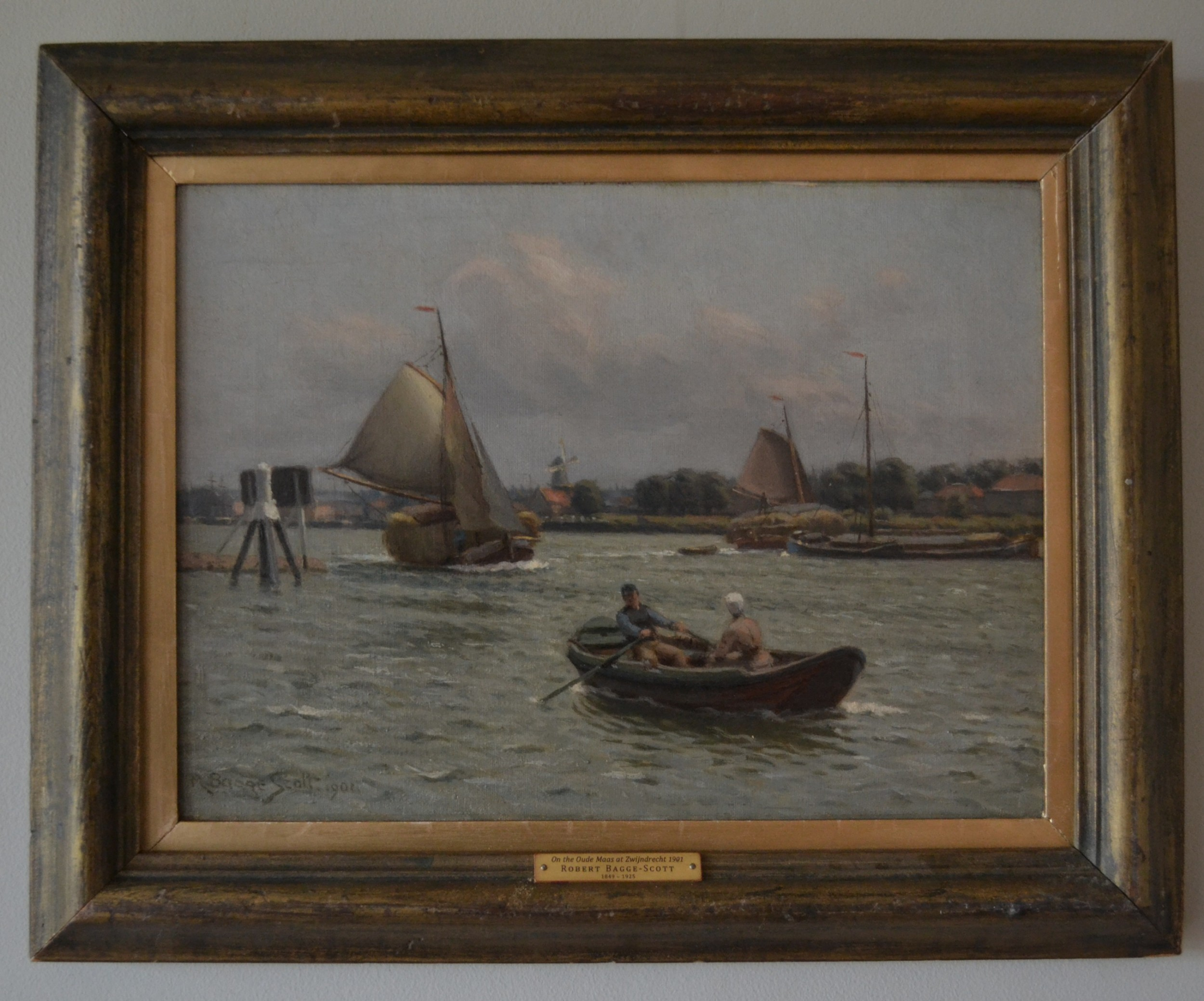 robert baggescott british 18491925 riverscape on the oude maas at zwijindrecht 1901oil on canvas