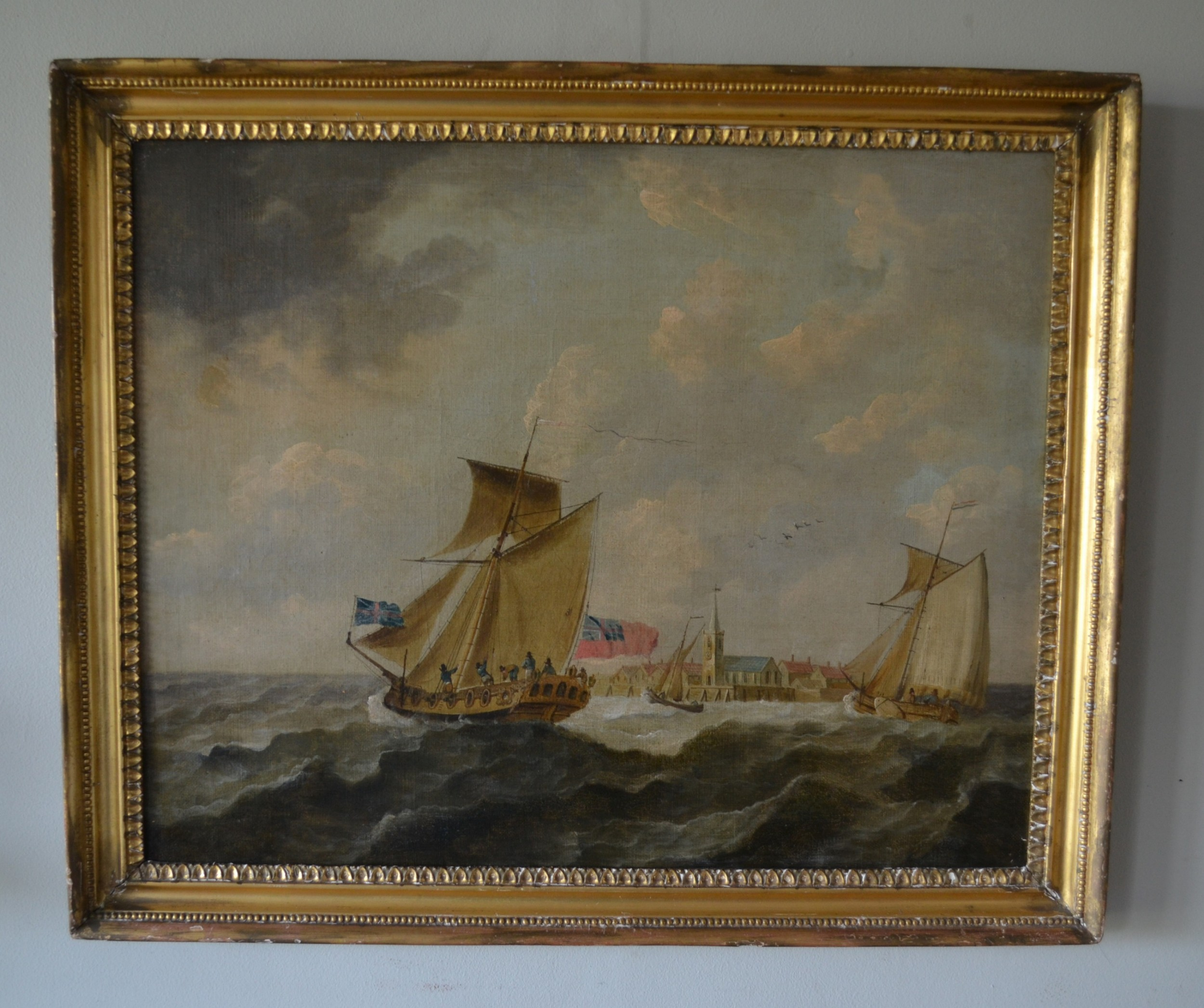 fishing boats in choppy water seascape c1870 manner of samuel calvert oil on canvas