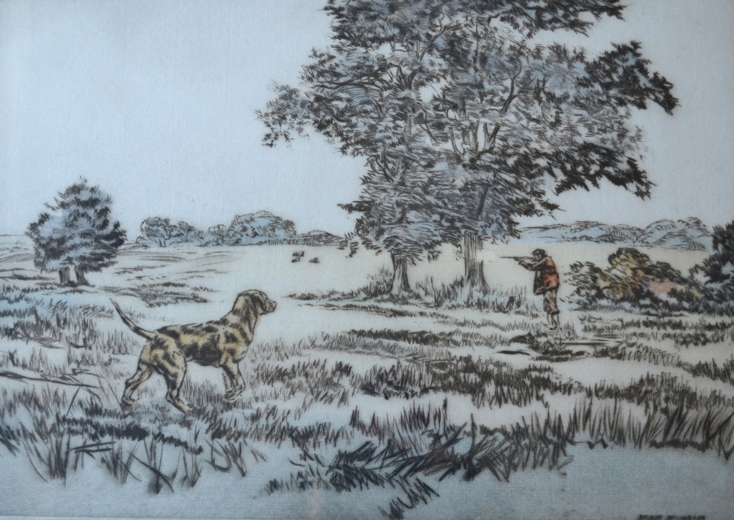 henry wilkinson 19212011 dry point coloured etching c 1950 sporting scene labrador ready to retrieve no 7100