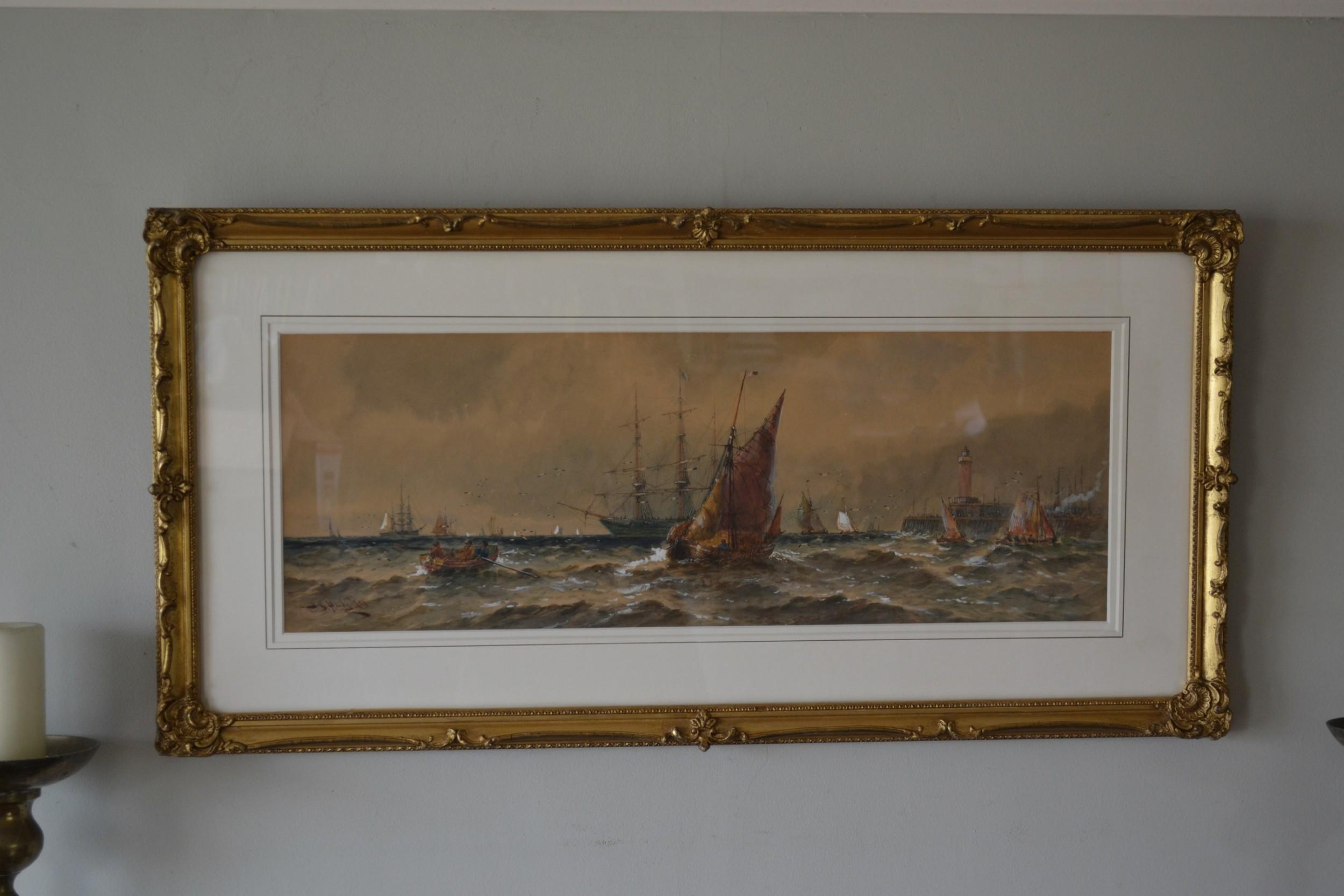 thomas bush hardy rba 1842 1897 shipping leaving calais harbour watercolour 1891