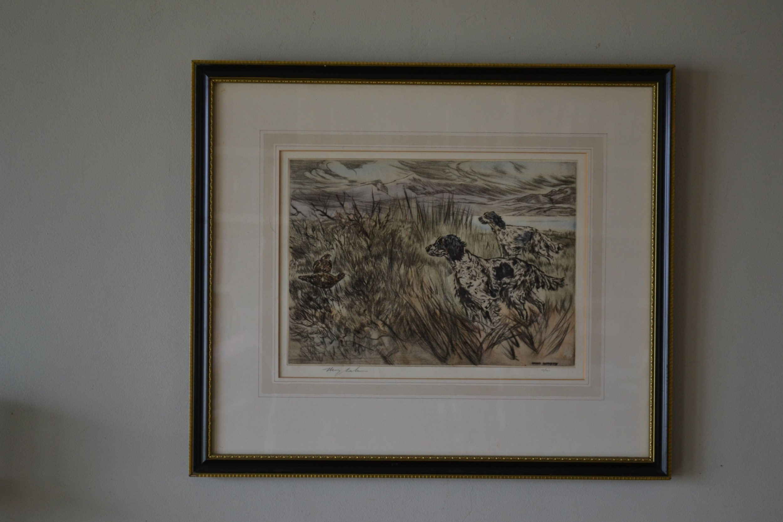 henry wilkinson 19212011 dry point coloured etching c 1950 setters in a grouse moor no 11100