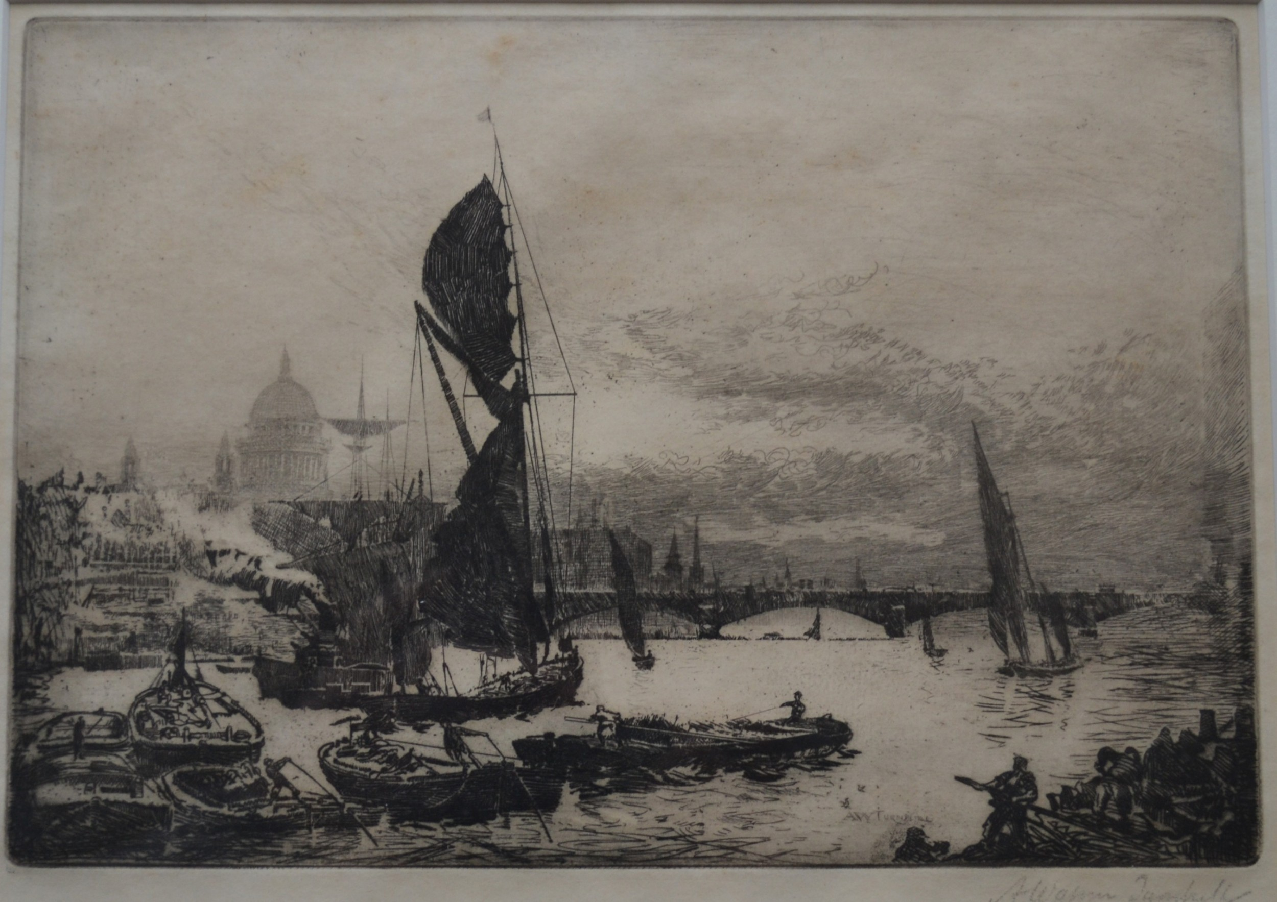 view of the thames with blackfriars bridge st pauls cathedral c1900 etching andrew watson turnbull b1874 signed