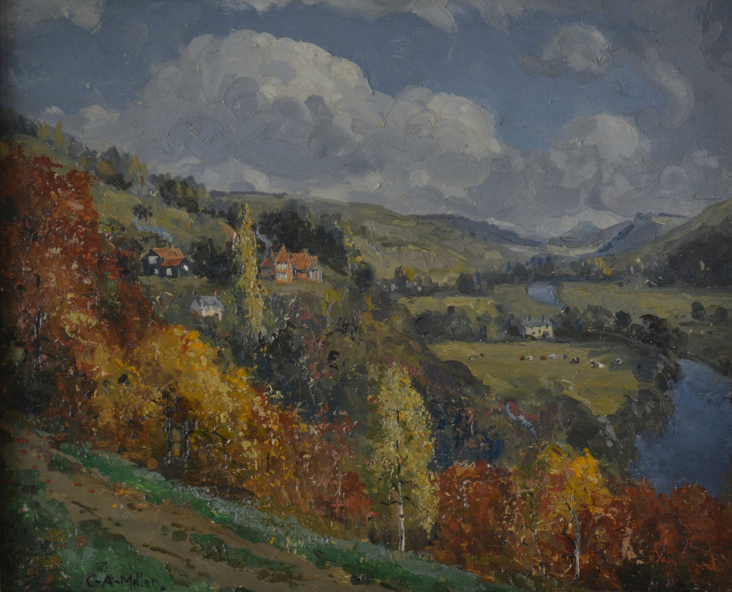 by the river wye herefordshire c1930 original oil on panel campbell archibald mellon roi rba 18761955