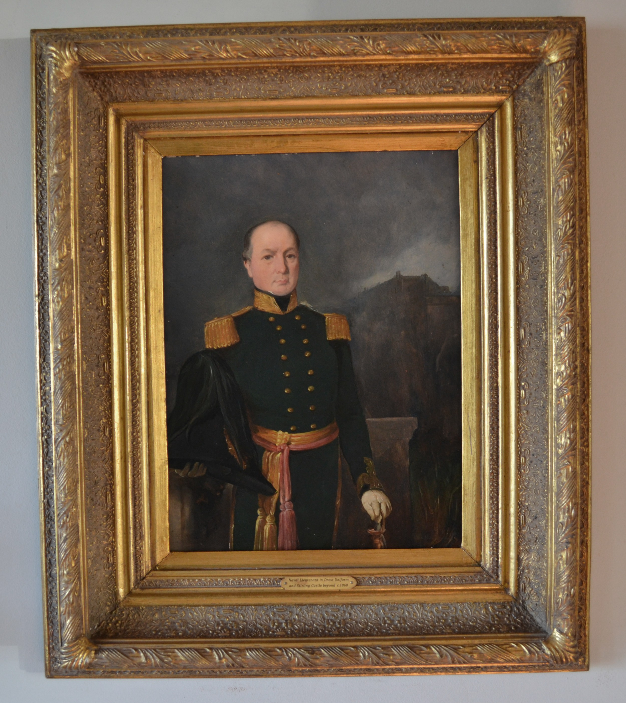 portrait of a naval lieutenant in dress uniform with stirling castle beyond c1860 oil on mill board