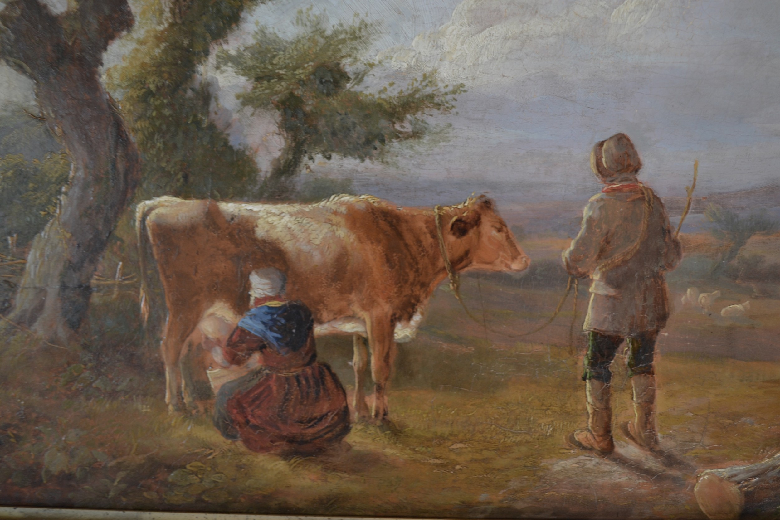 a tranquil afternoon milking the cow oil on panel c 1850 willis
