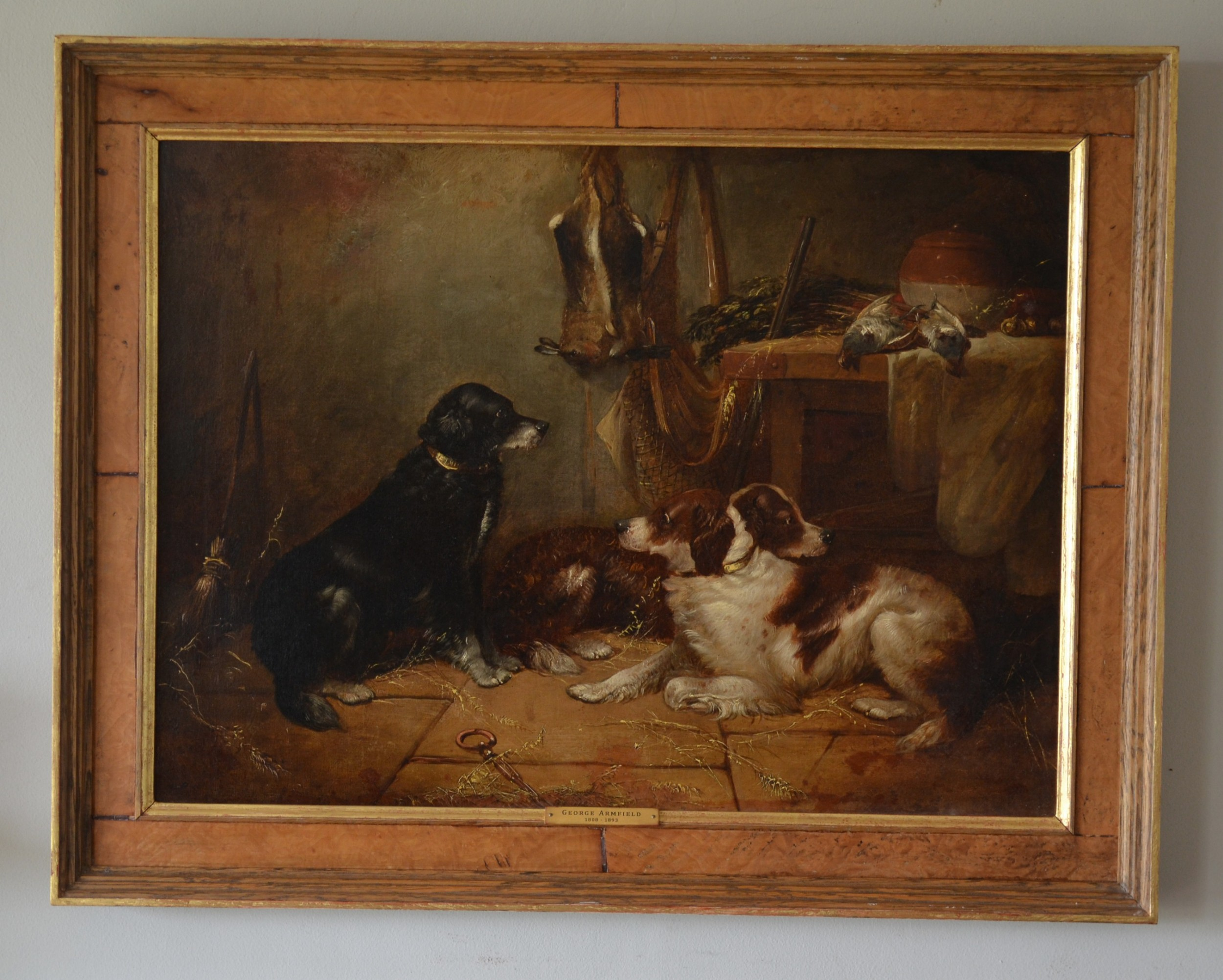 resting dogs oil on canvas c 1860 george armfield attributed 18081893