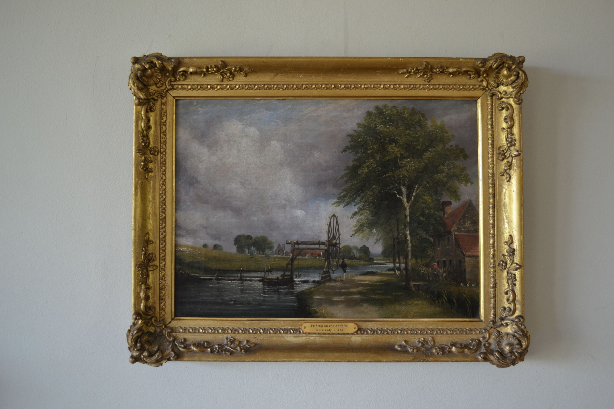 fishing on the andelle normandy c1850 oil on canvas french unsigned