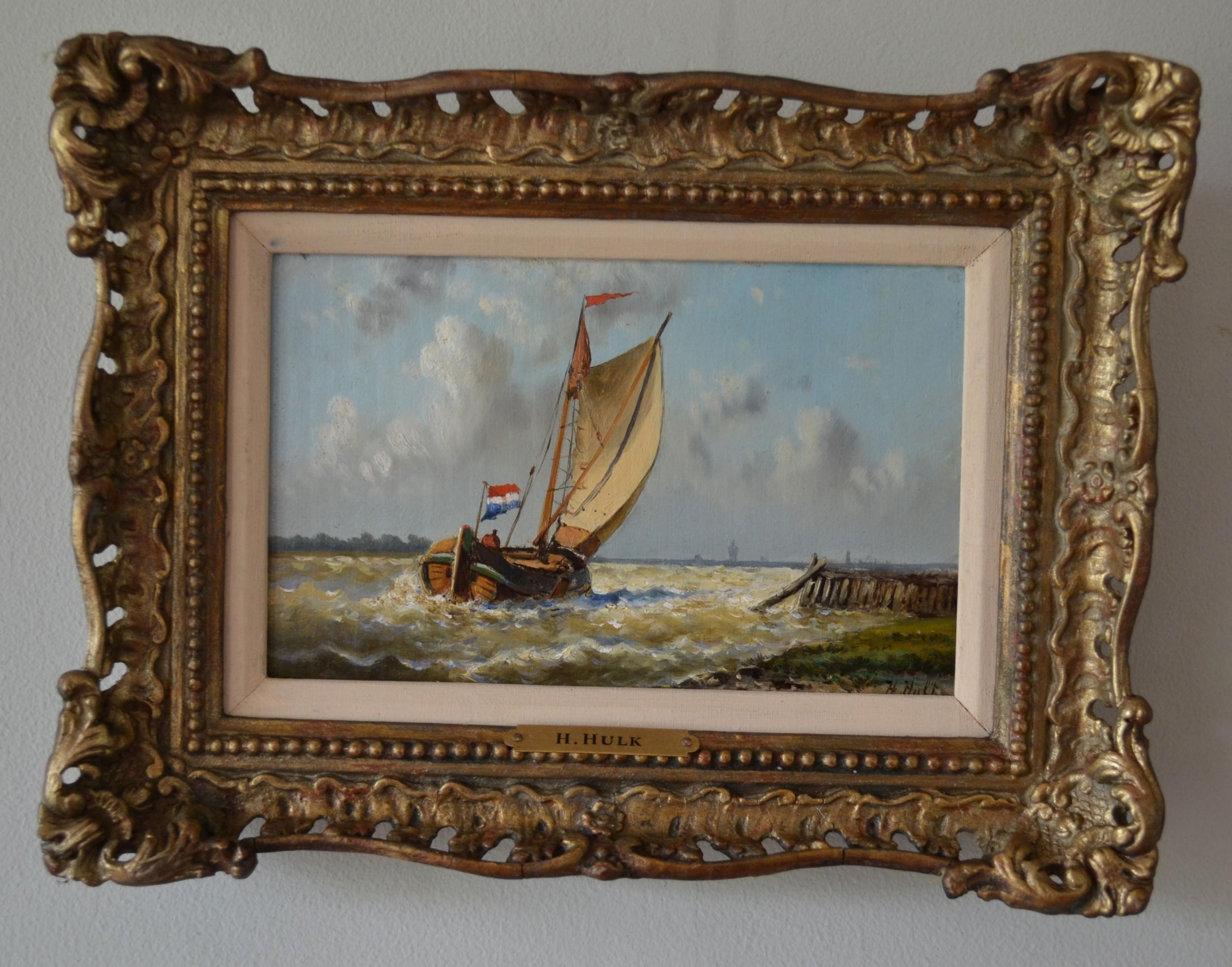pair seascapes fishing off the dutch coast c 1914 oil paintings on panel hendrik hulk 18421937
