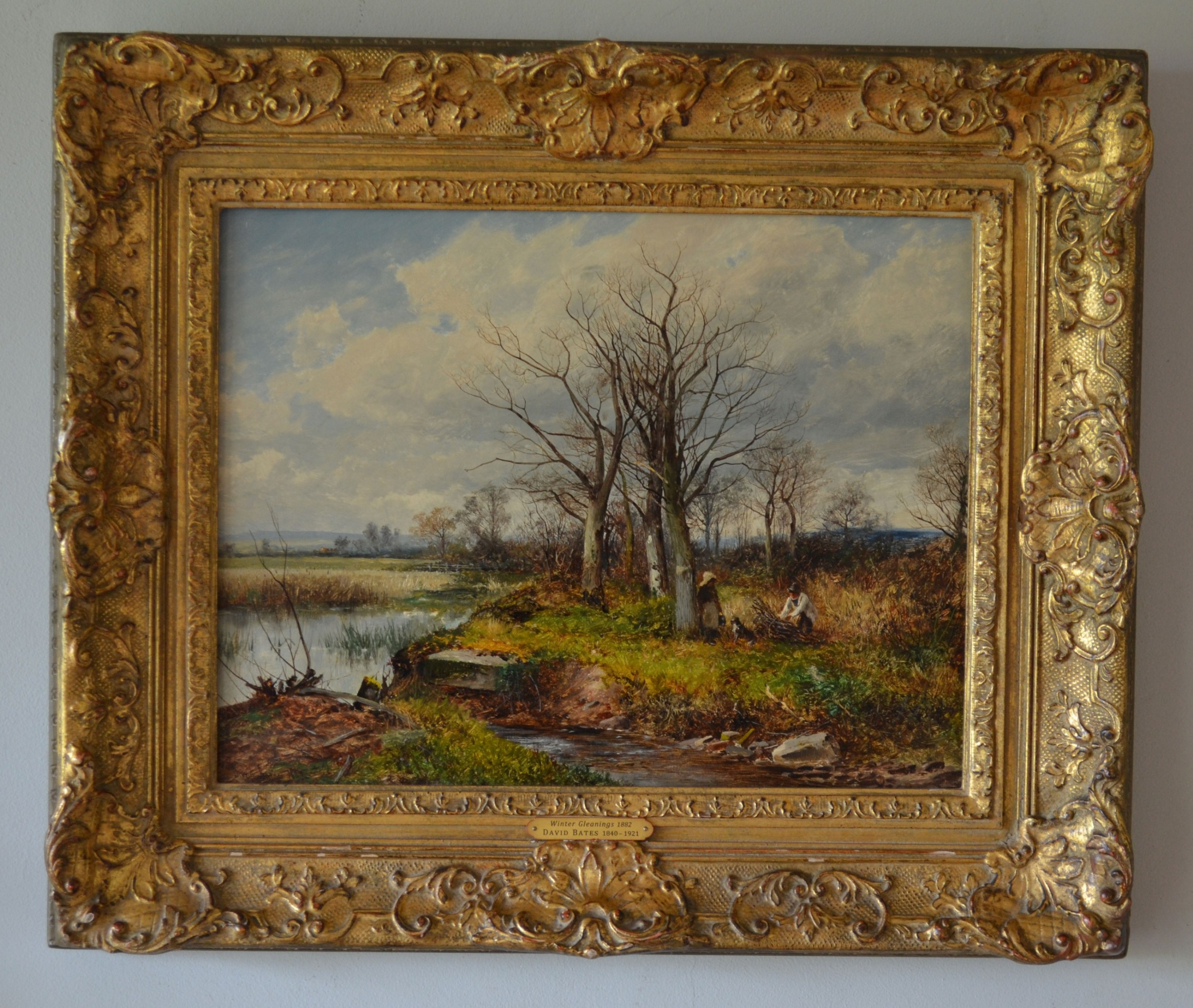 david bates 18401932 english landscape original oil on canvas winter gleanings 1882 signed