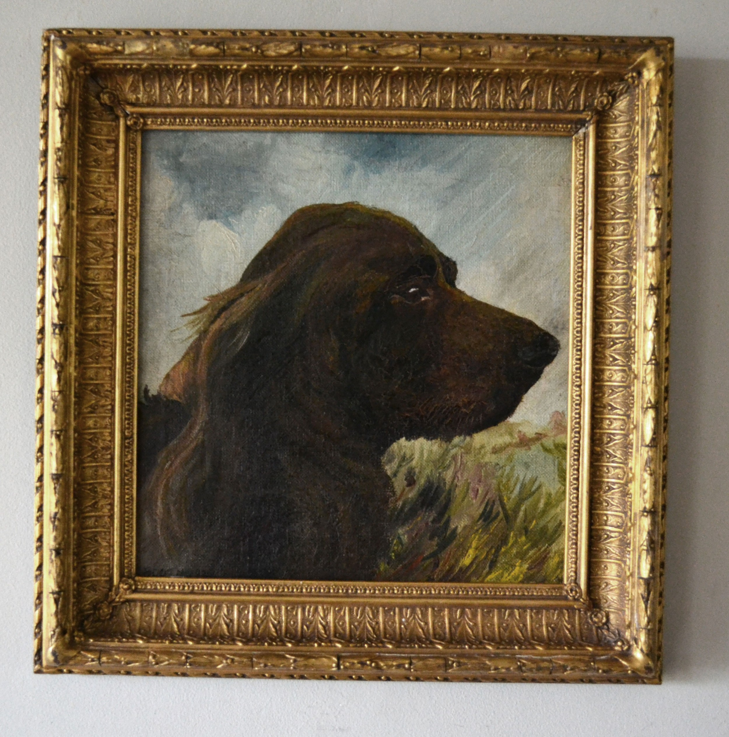 portrait of a setter dog original oil on canvas 1924 h booth