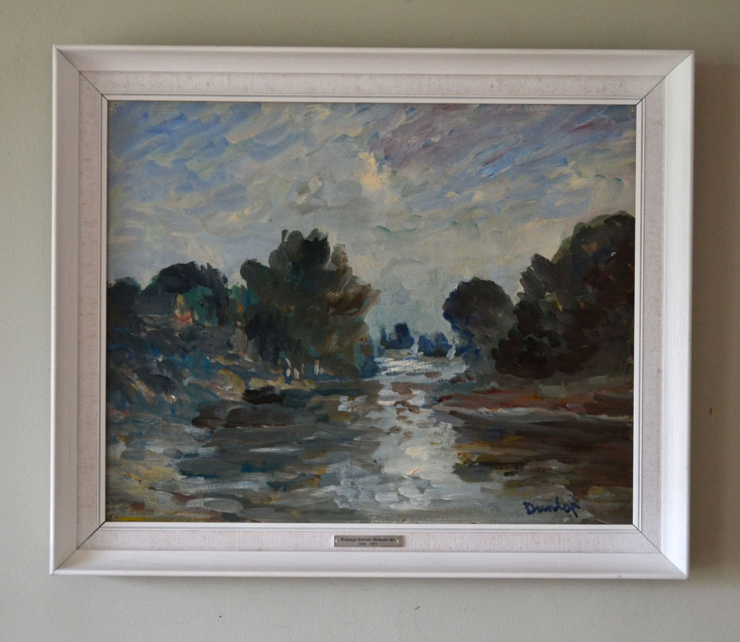 sussex river landscape c1960 oil painting on canvas ronald ossory dunlop irish 18941973