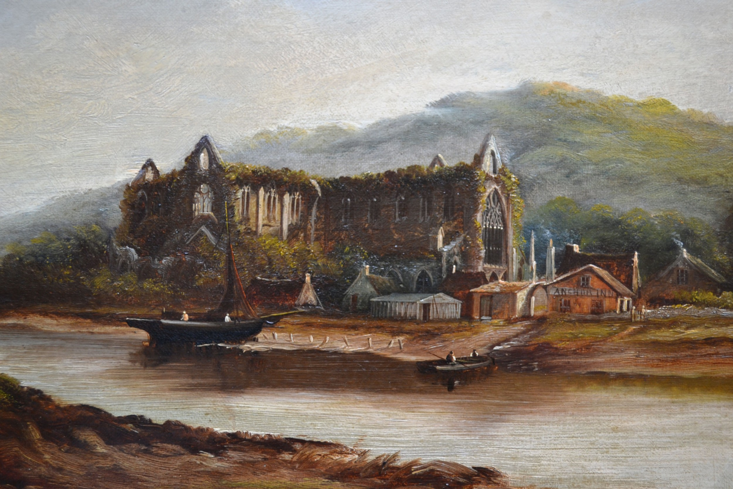 tintern abbey on the river wye c1900 henry harris 18521926 oil on canvas