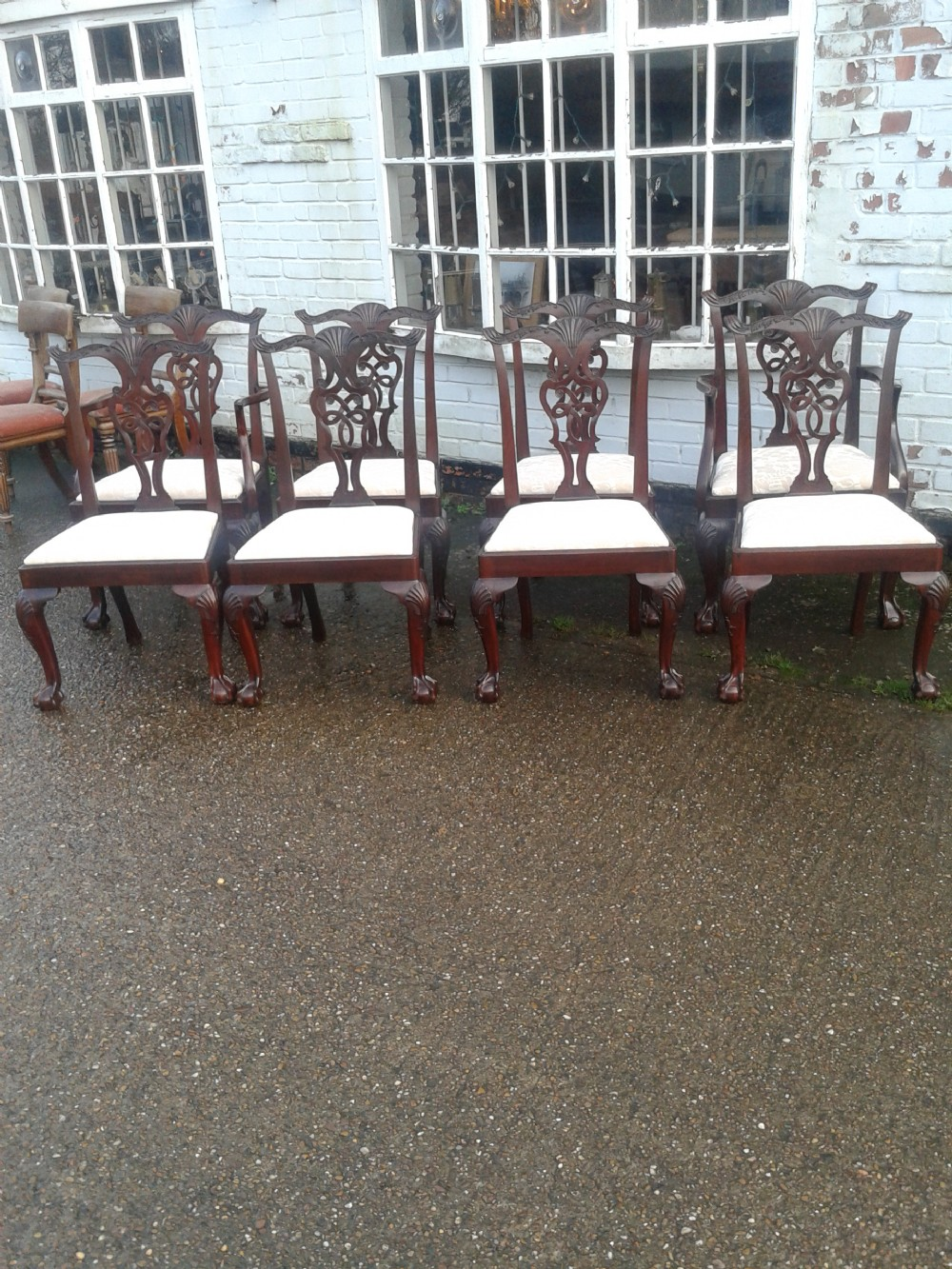 set of eight mahogany chippendale style dining chairs
