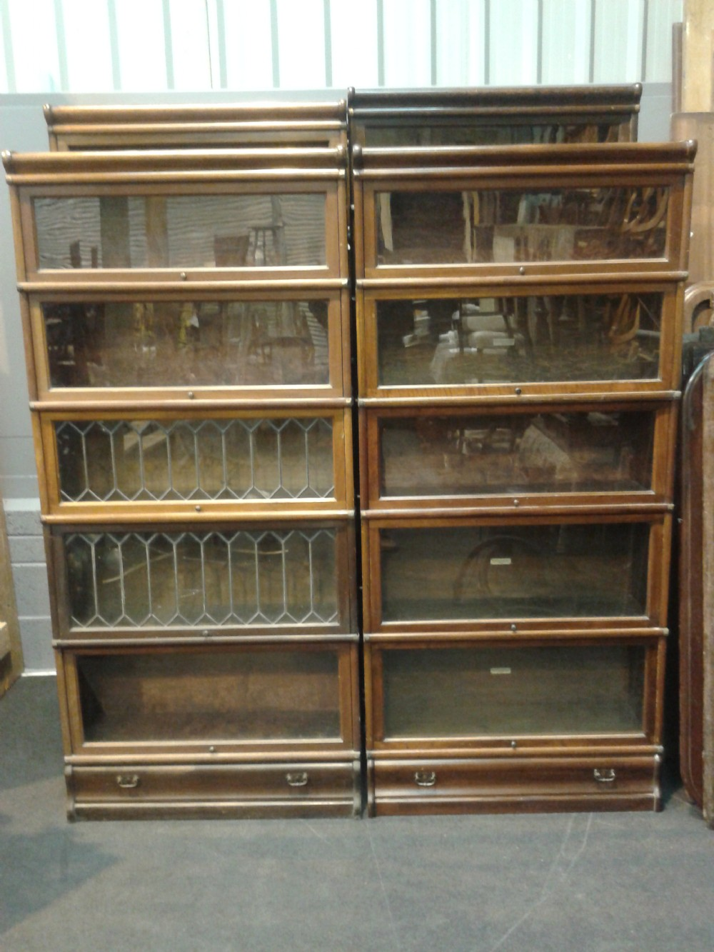 pair of five section medium mahogany globe wernicke bookcases