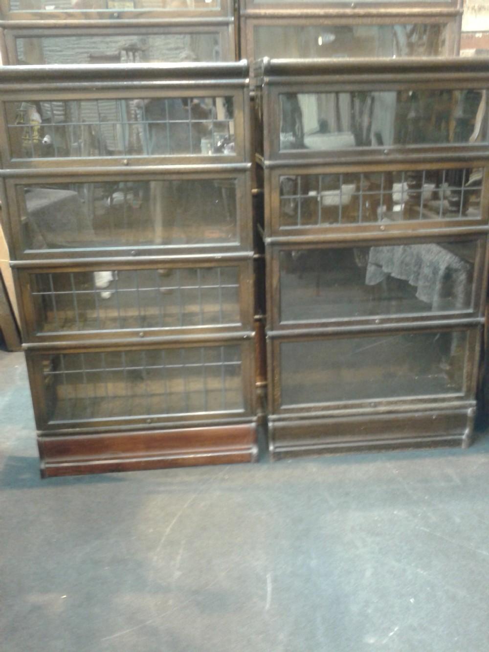 near pair four section dark oak globe wernicke bookcases