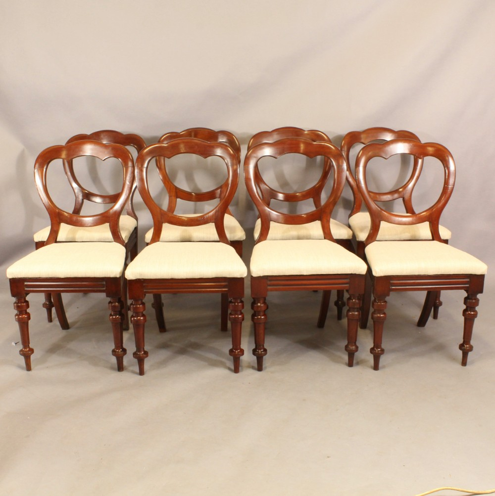 set of eight balloon back chairs