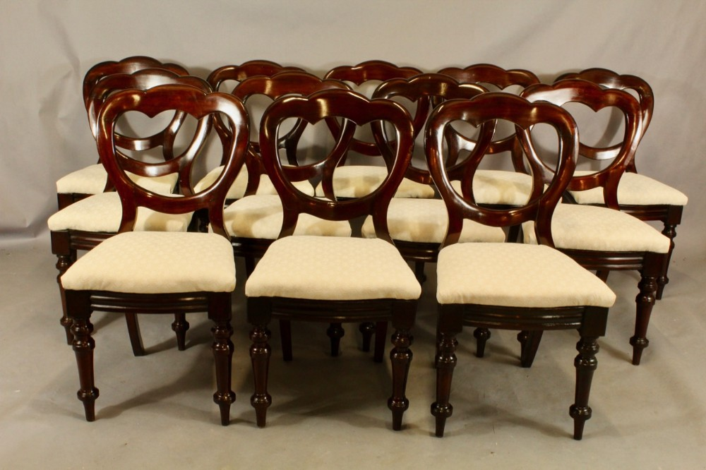 set of twelve mahogany crown back chairs bow fronts