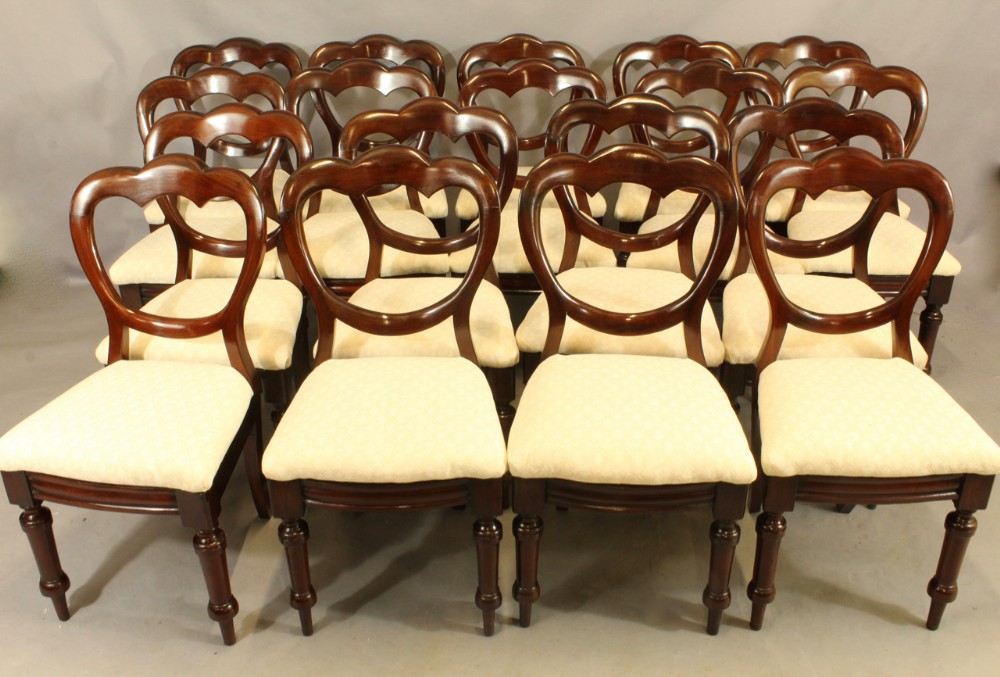 set of eighteen mahogany crown back dining chairs
