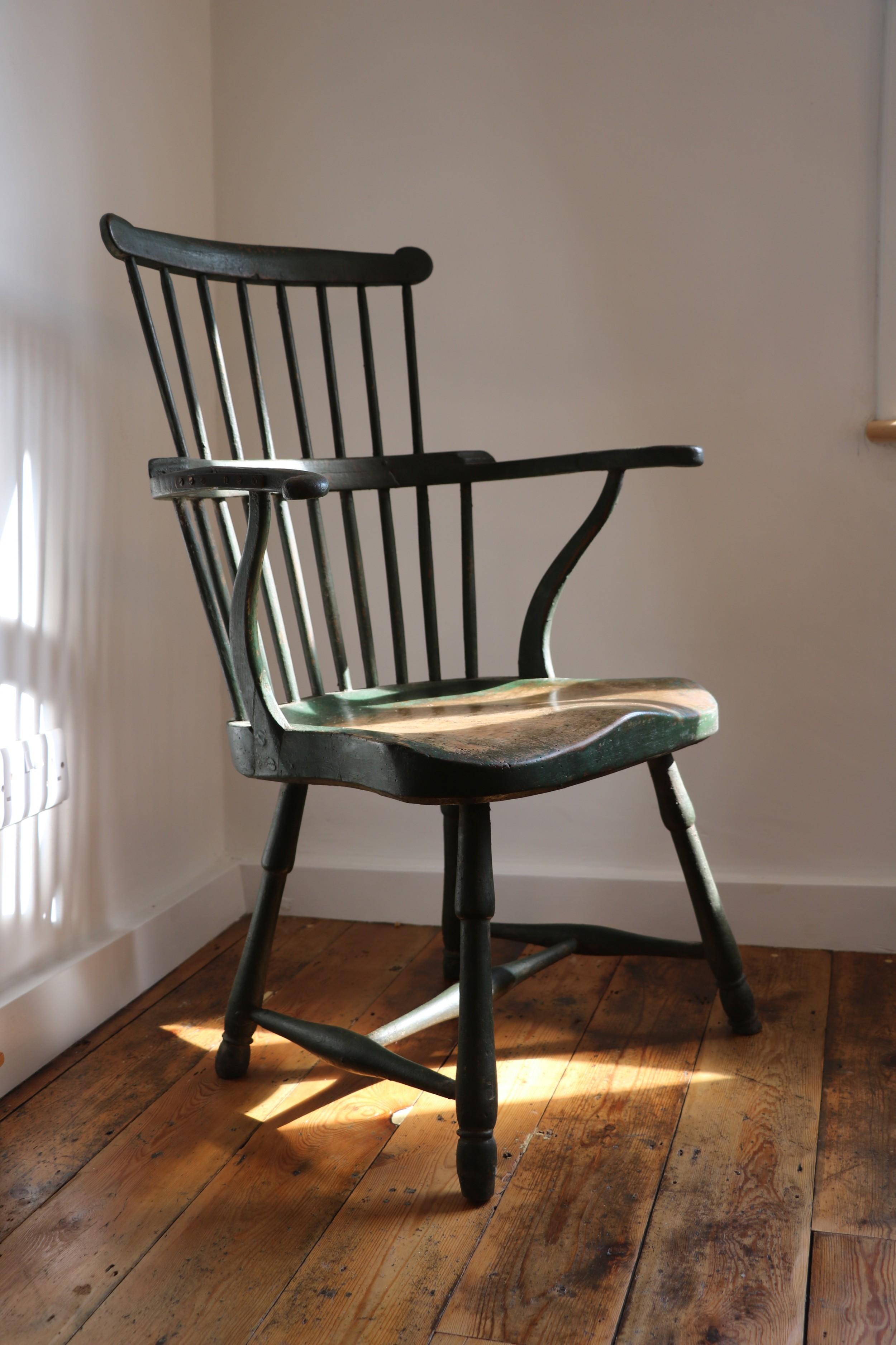 18th century west country primitve windsor comb back antique stick chair