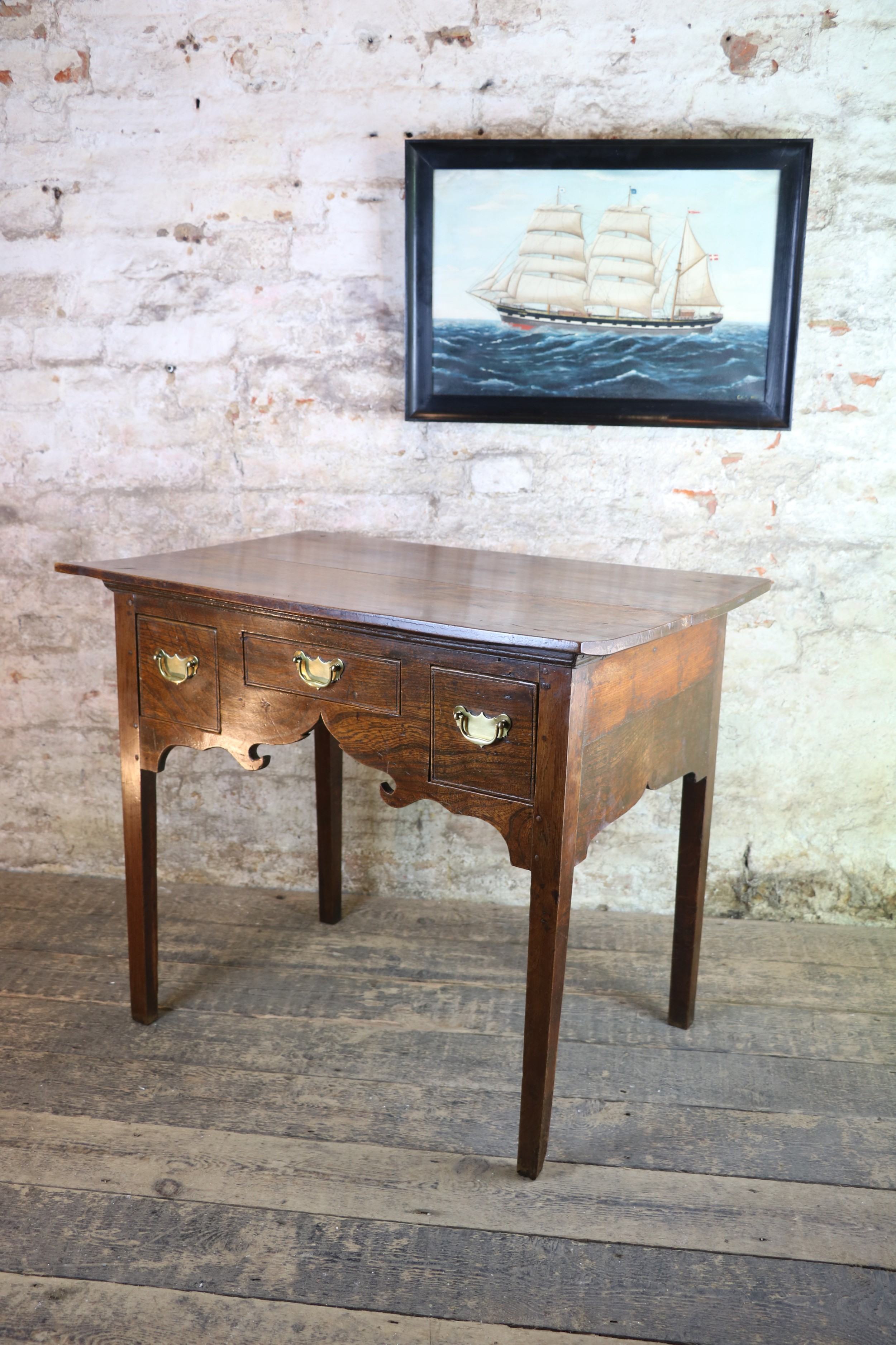 welsh 18th century well figured elm low boy antique table