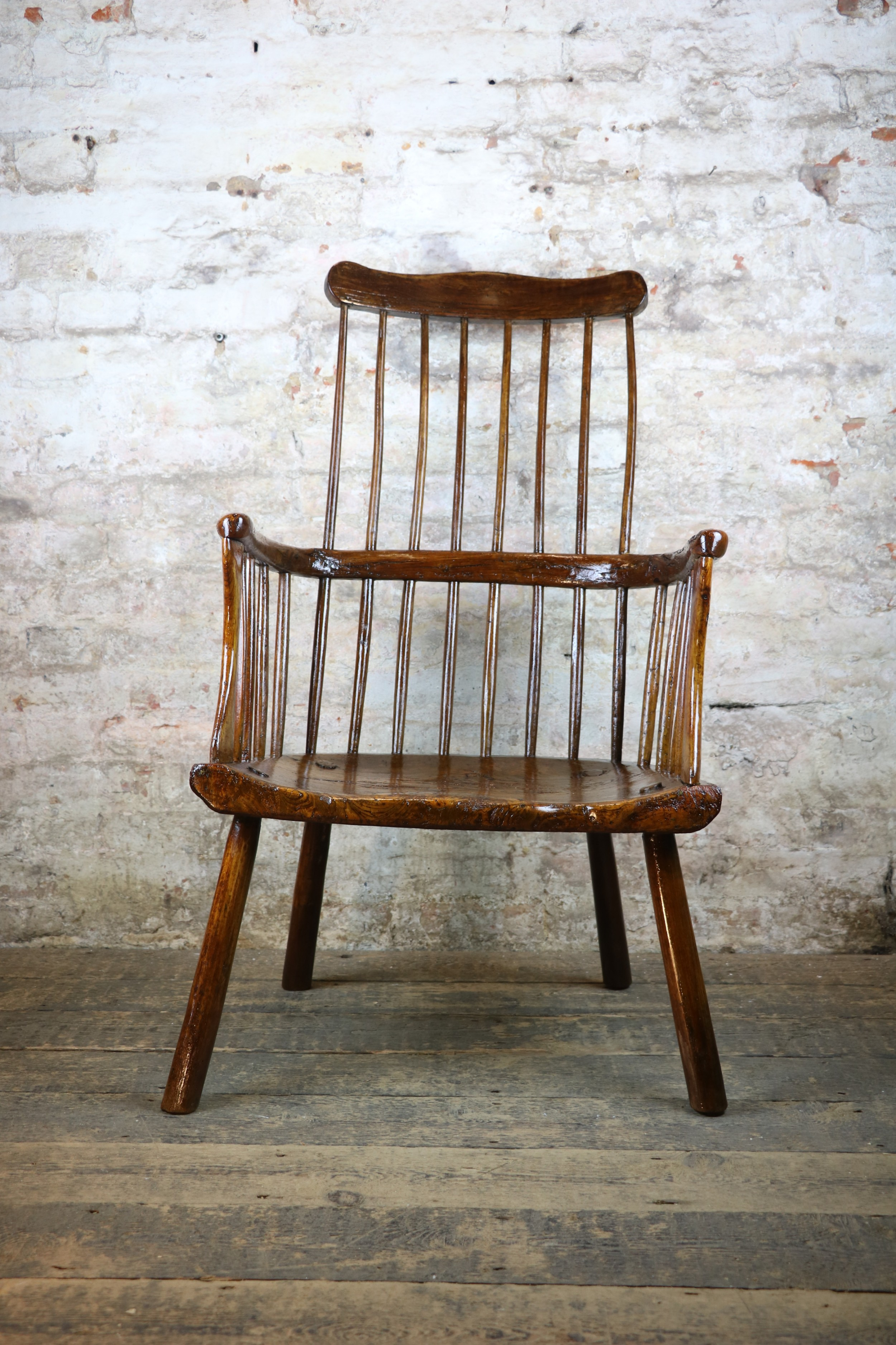 18th century west country primitive windsor comb back antique stick chair