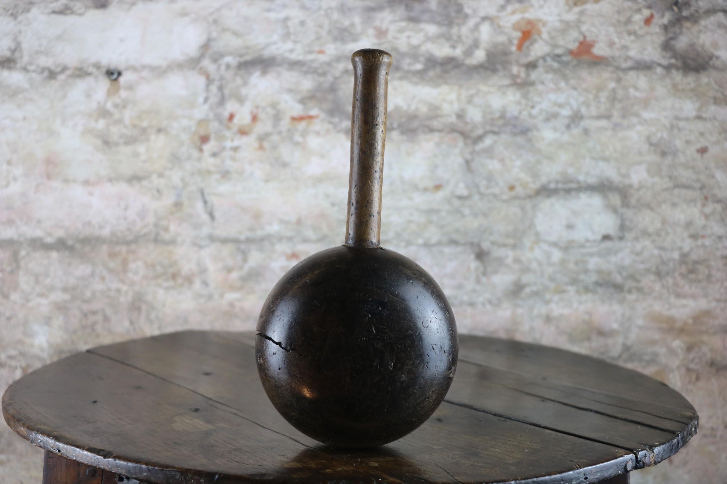 19th century lignum vitae treen mallet antique