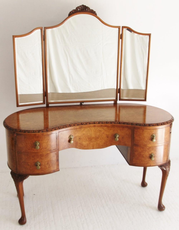 Burr walnut kidney shaped dressing table 279298 for Walnut dressing table