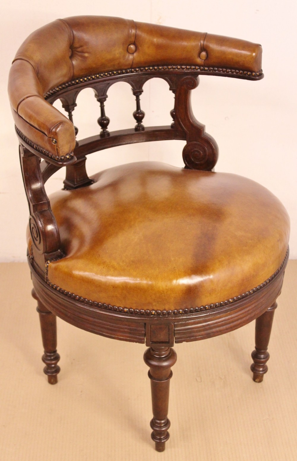 mahogany and leather captains desk chair 396070 sellingantiques