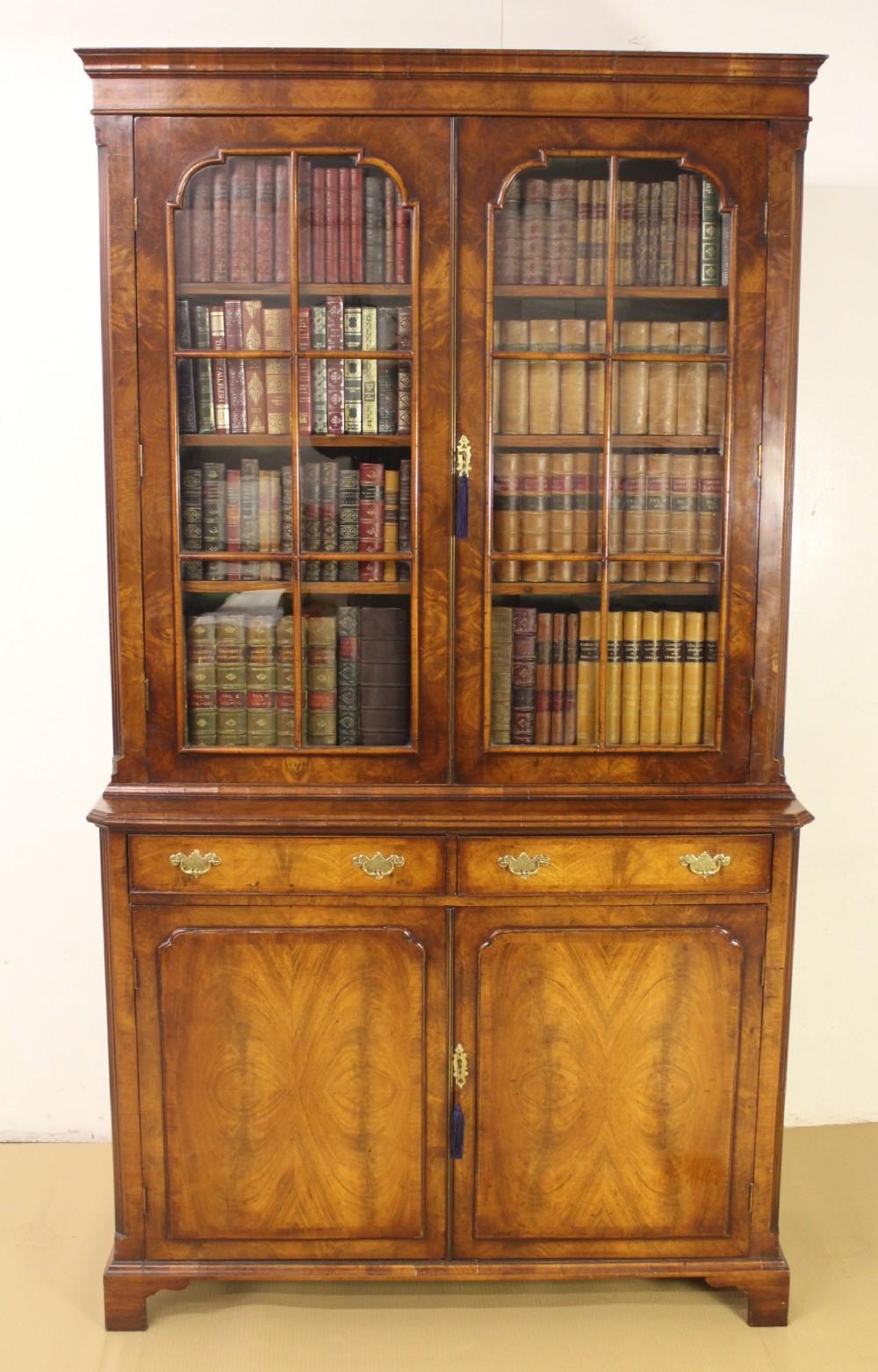 burr walnut library bookcase