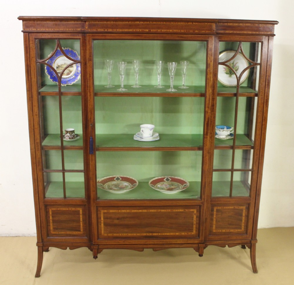 edwards and roberts inlaid mahogany display cabinet