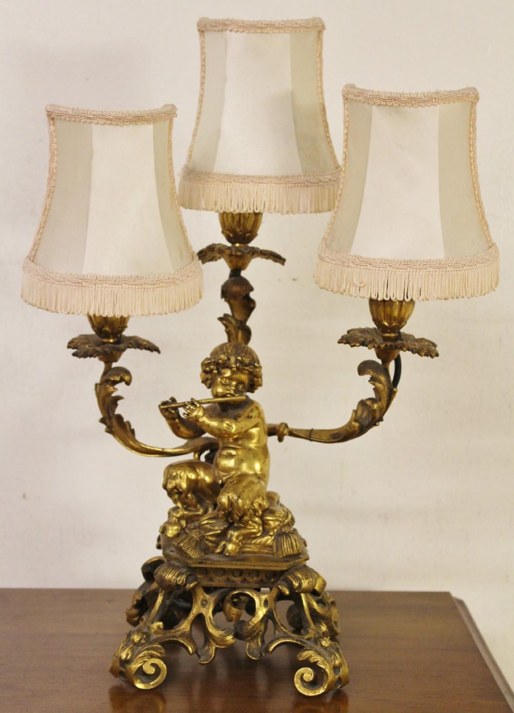 excellent gilt bronze table lamp