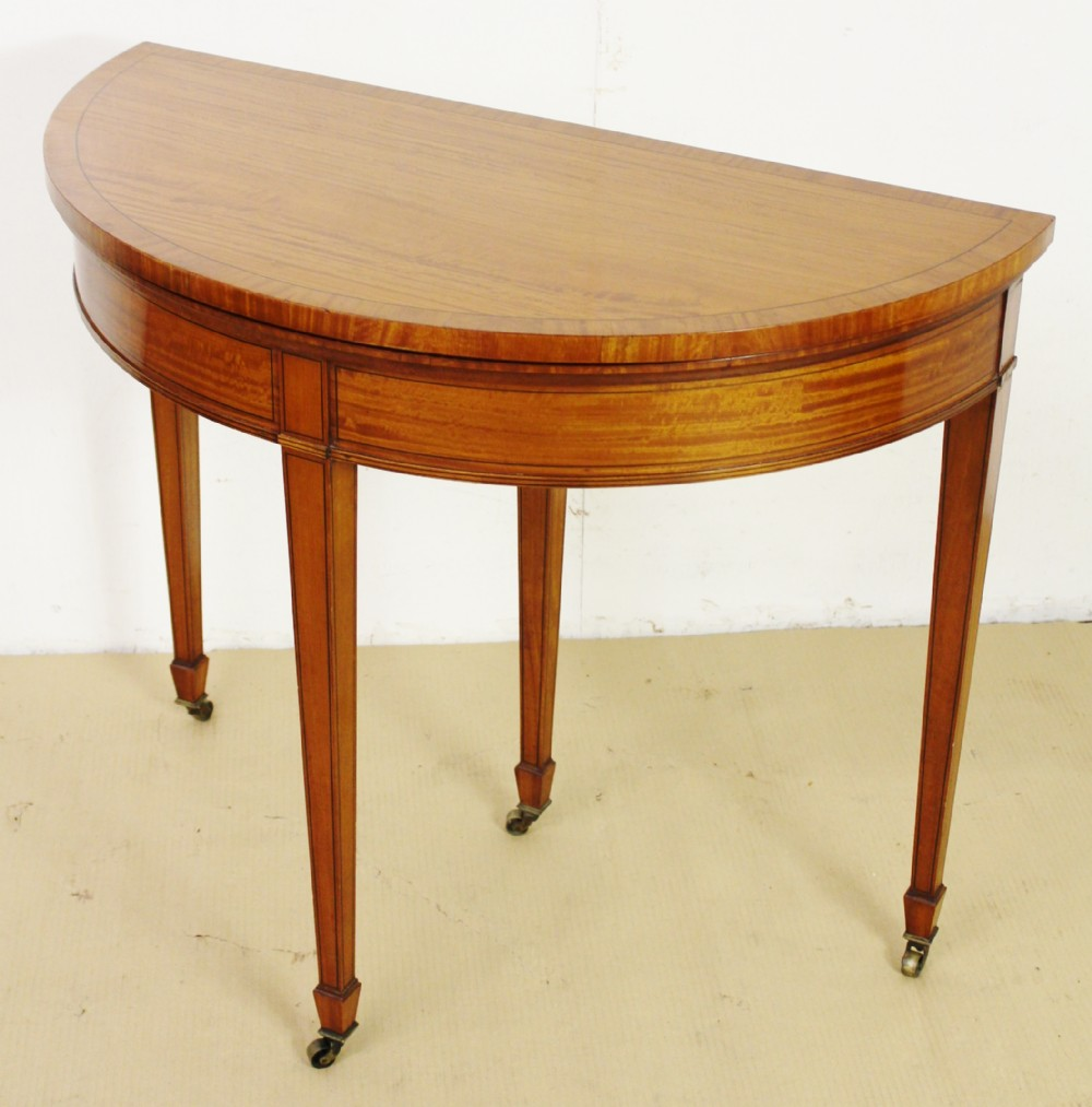 inlaid satinwood demi lune card table