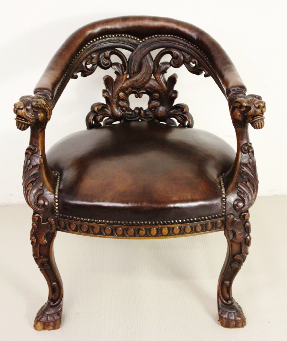Peachy Ornate Walnut And Leather Captains Desk Chair 584982 Uwap Interior Chair Design Uwaporg