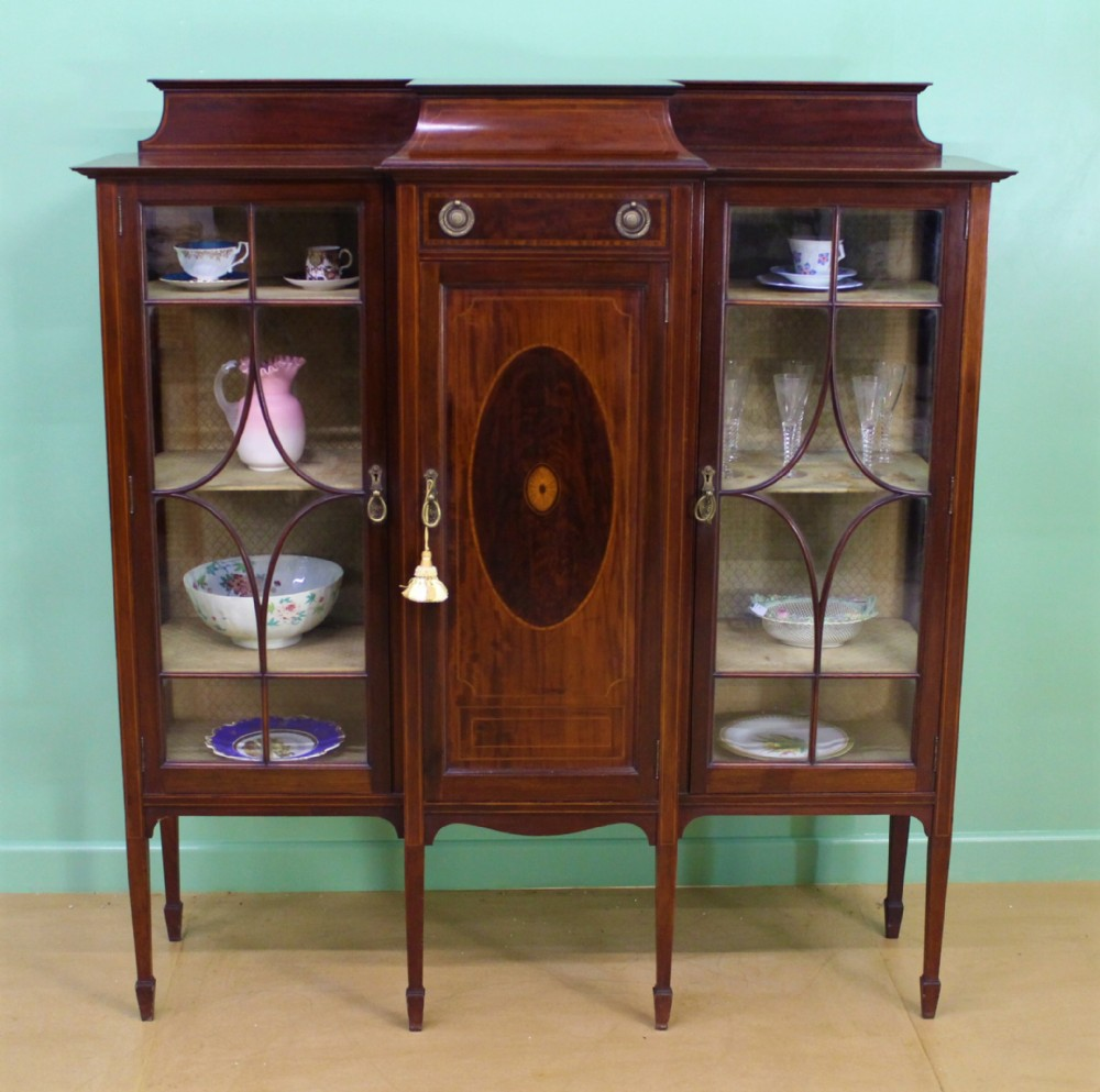 shapland and petter inlaid mahogany side cabinet