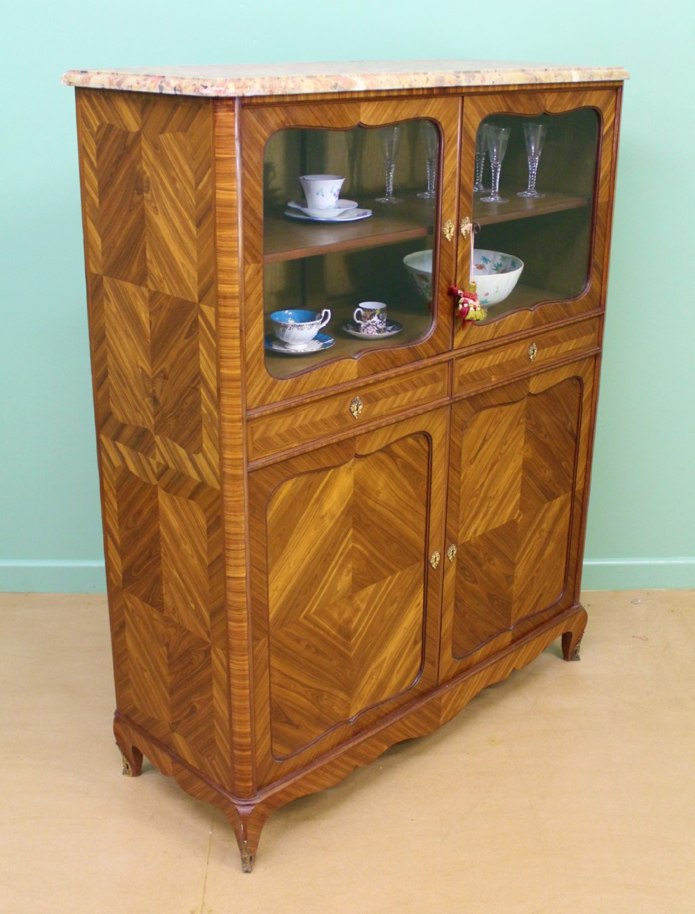 marble topped french kingwood cabinet