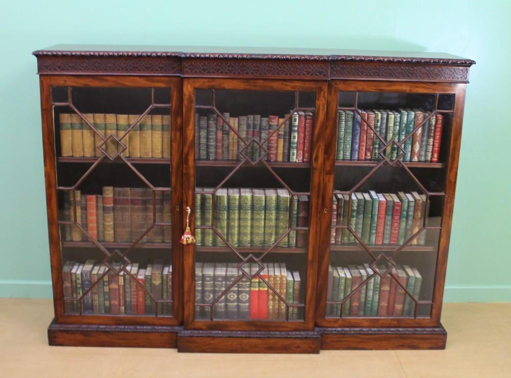 victorian break fronted glazed mahogany bookcase