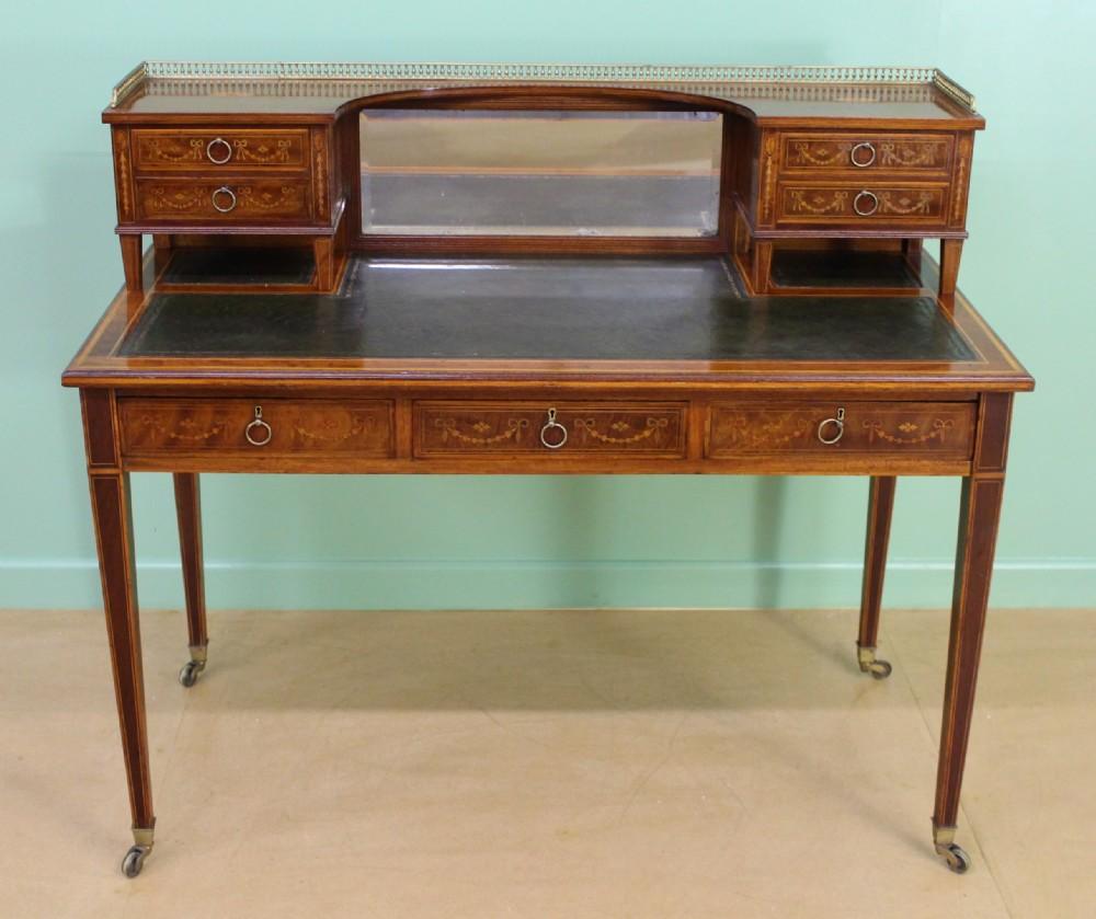late victorian inlaid mahogany writing desk