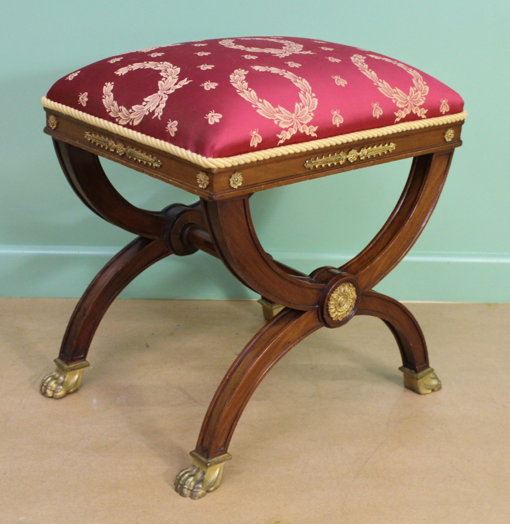 french empire x frame mahogany stool