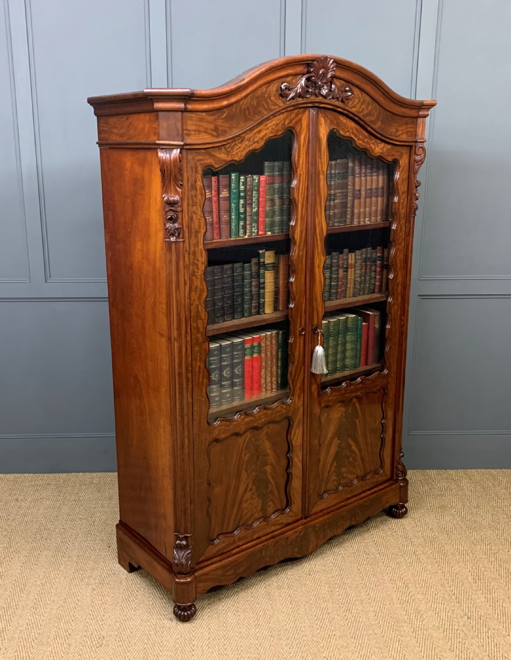french 19th century flame mahogany bookcase