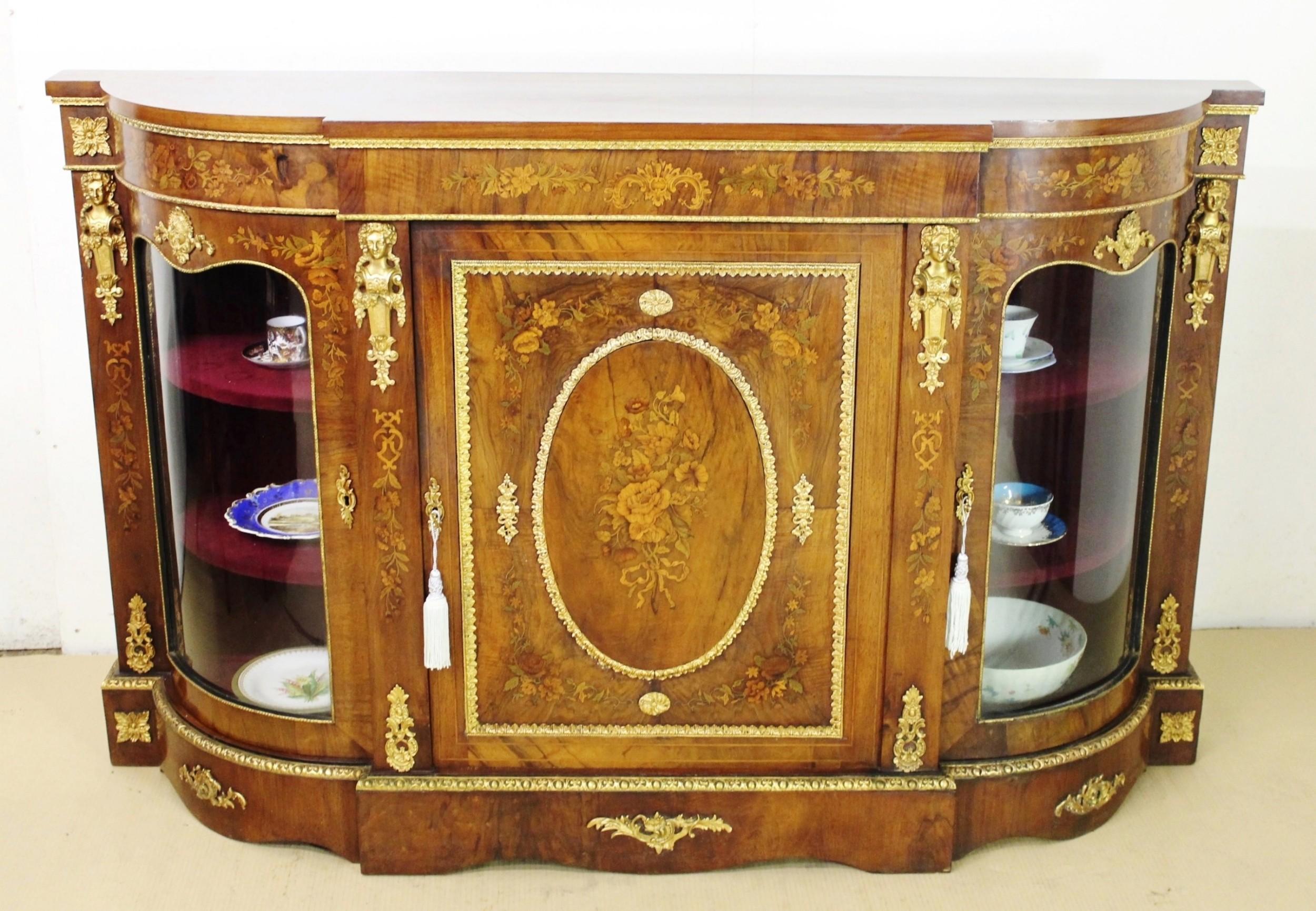 La Credenza Uk : Victorian floral marquetry inlaid burr walnut credenza 562664