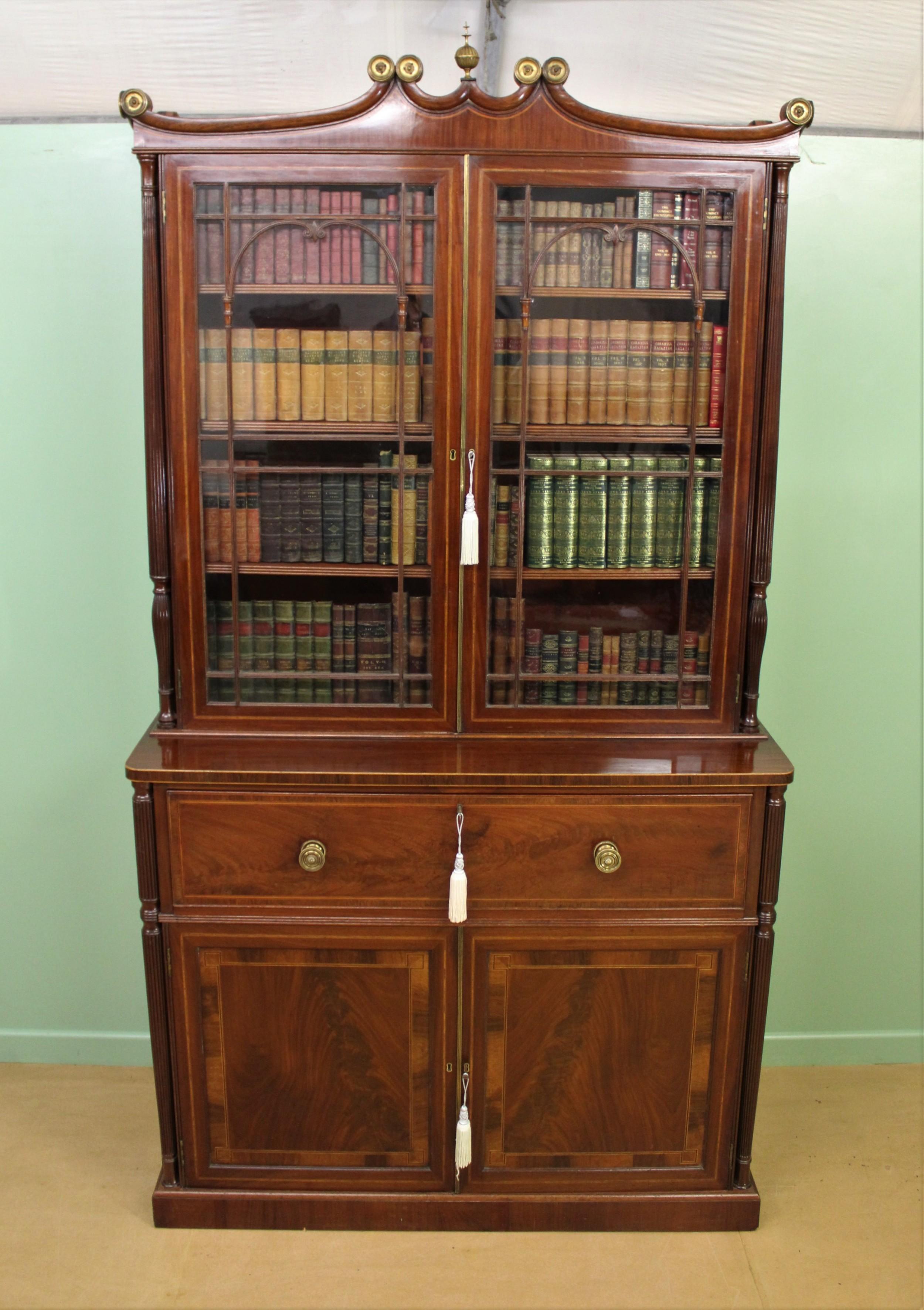 george iv inlaid mahogany secretaire bookcase