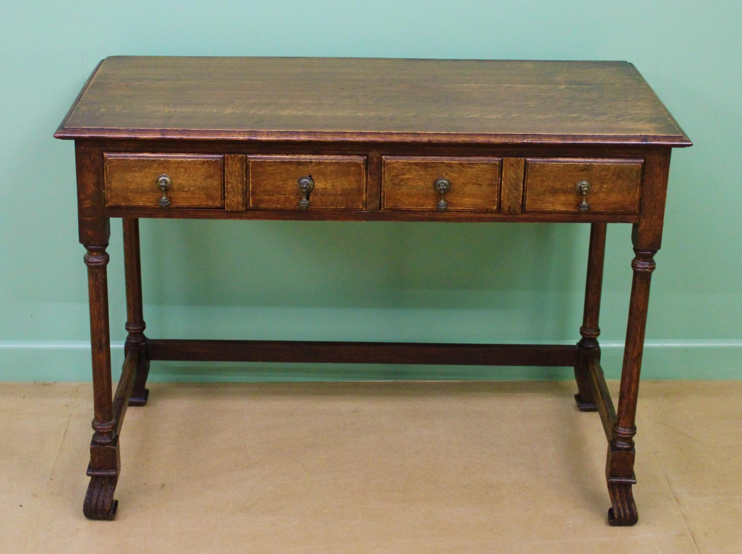 two drawer oak side table