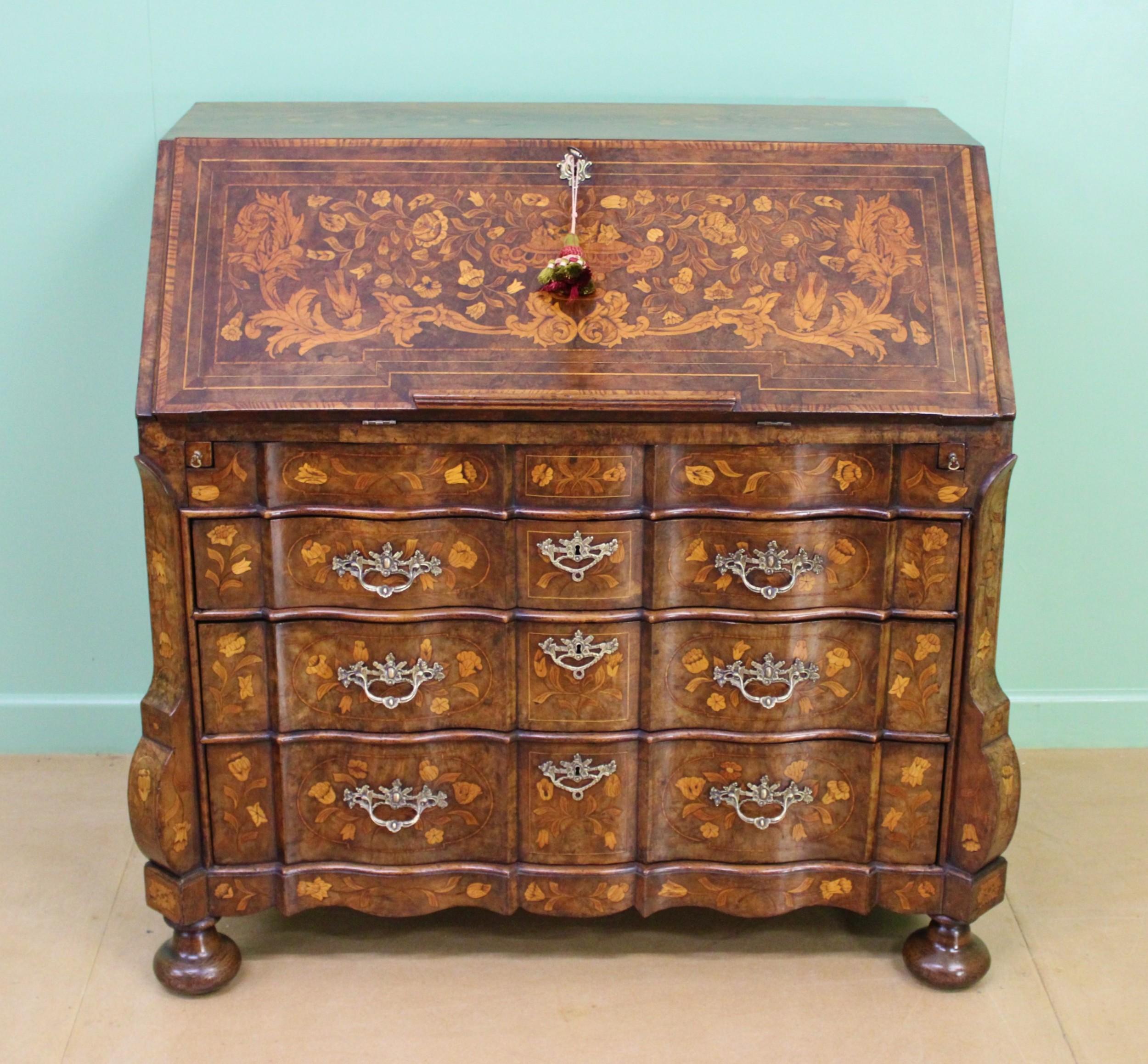 late 18th c dutch walnut marquetry bureau