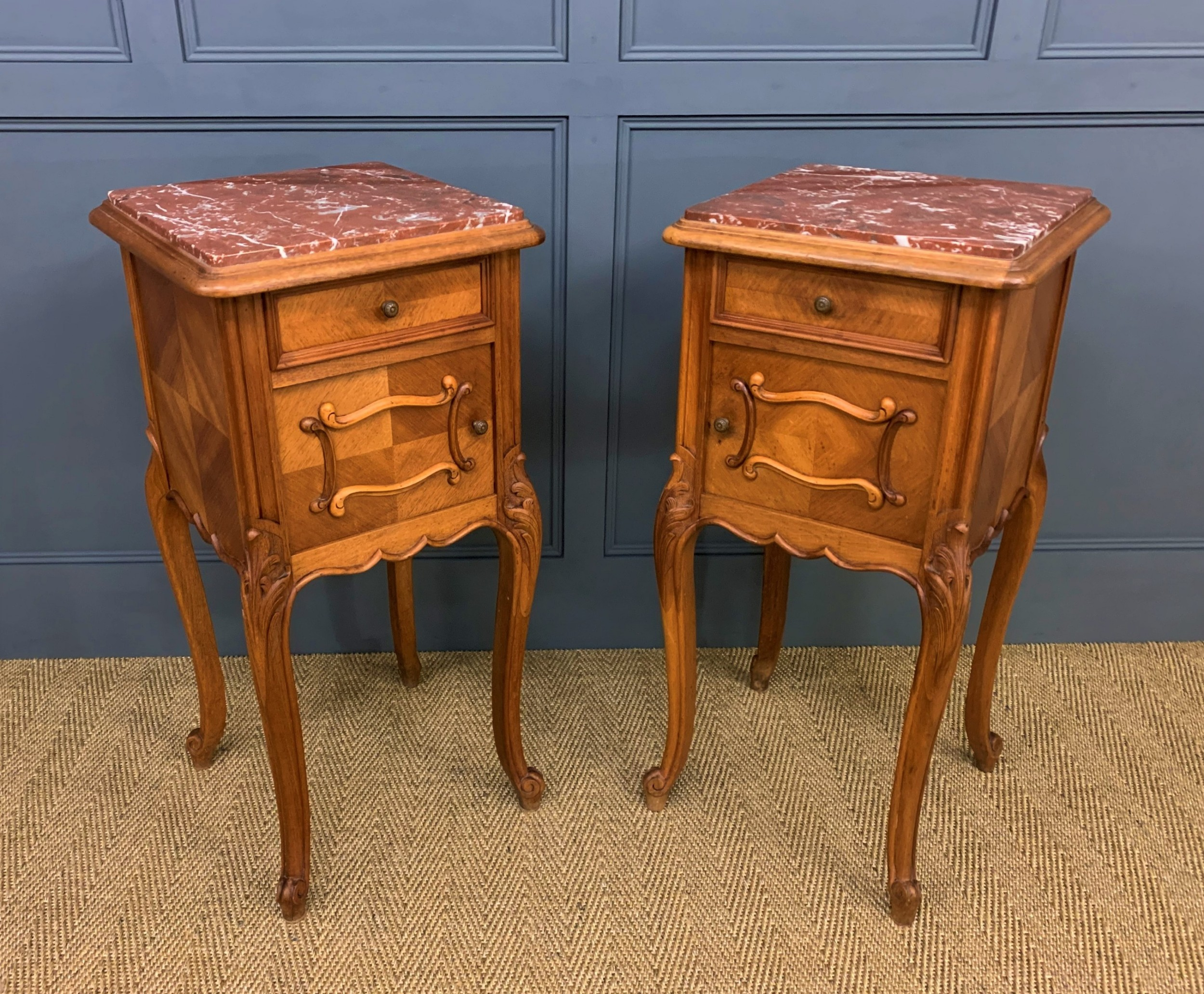 pair of french walnut bedside cupboards