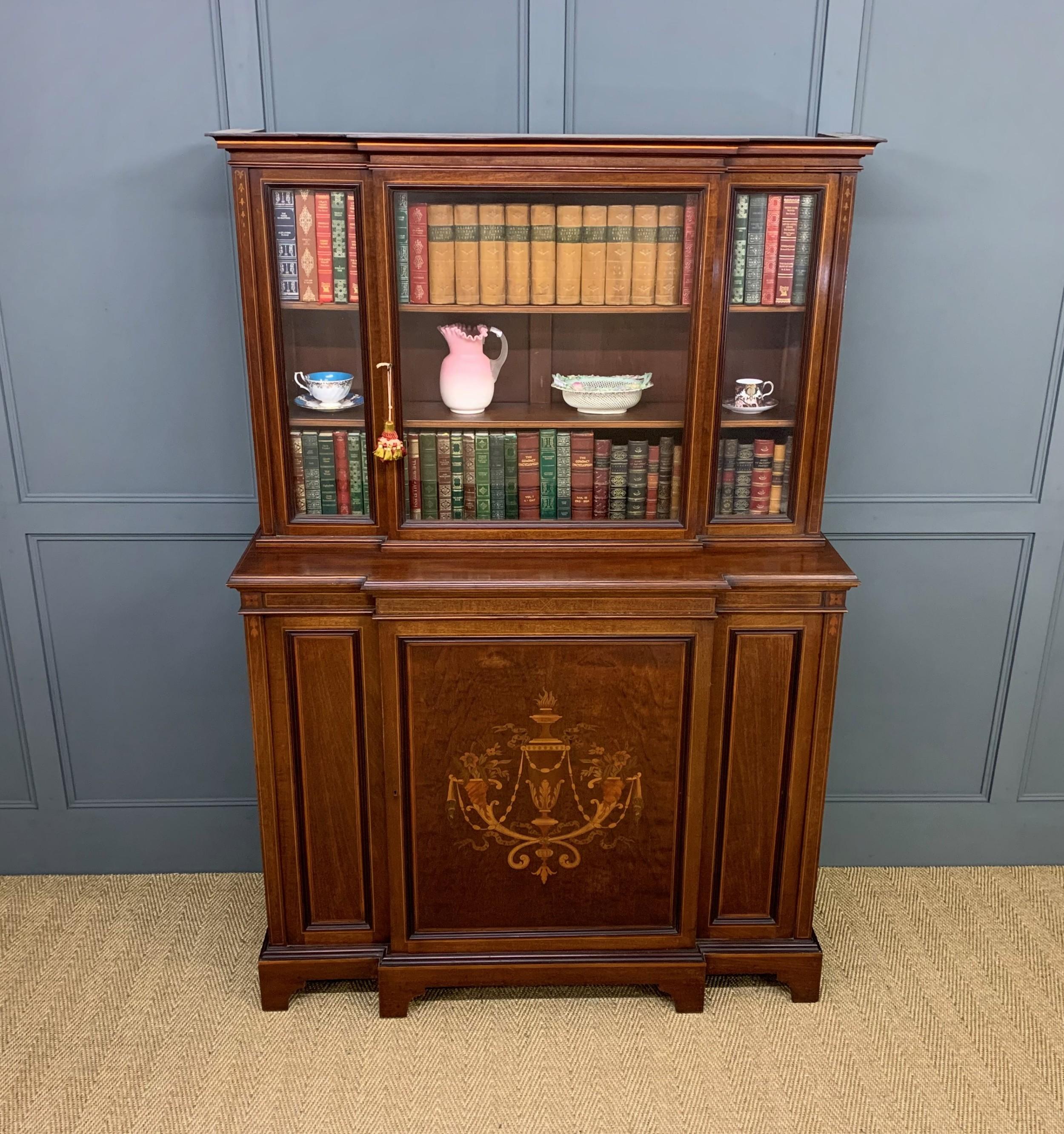 jas shoolbred inlaid mahogany bookcasecabinet