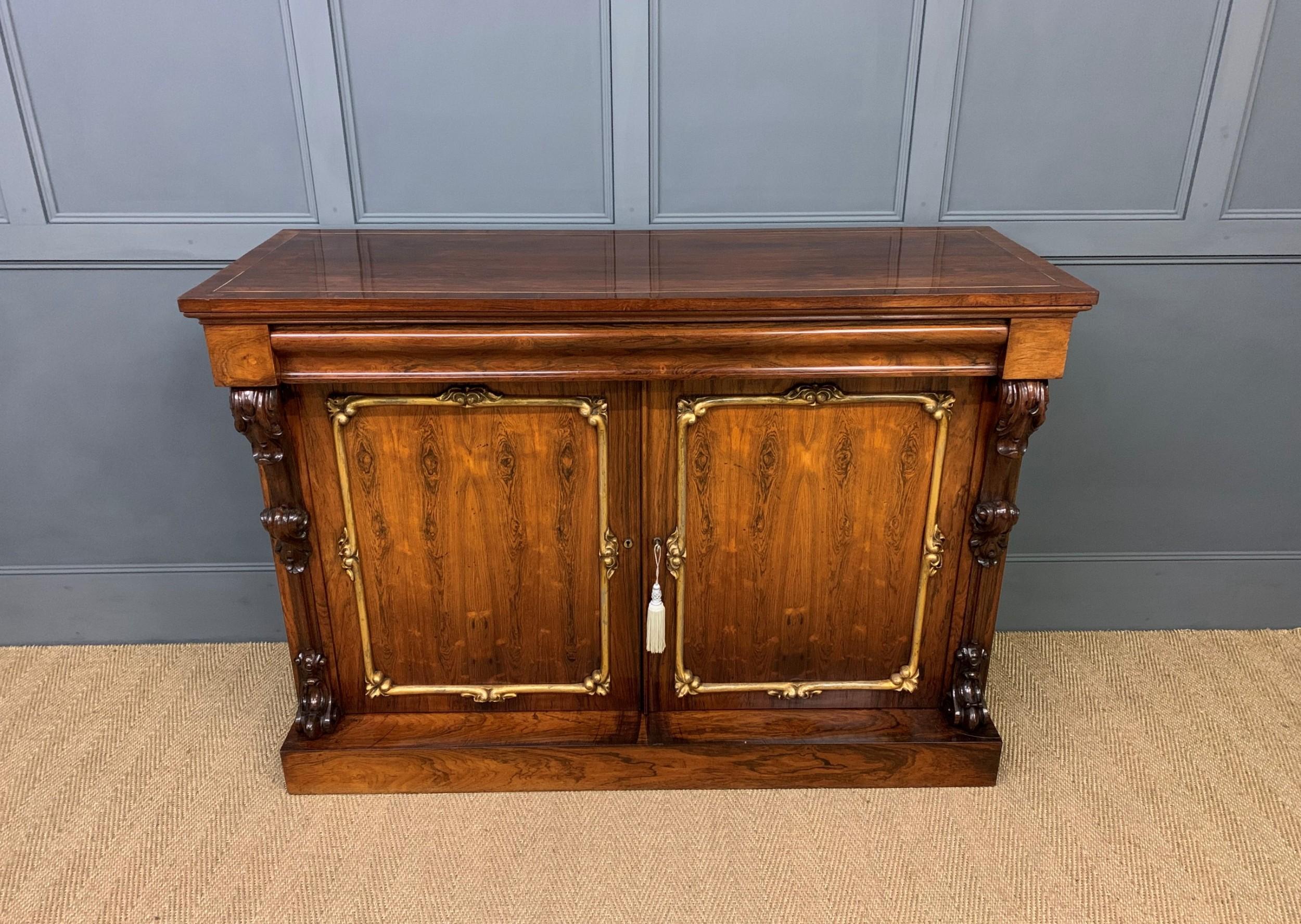 late regency period rosewood side cabinet