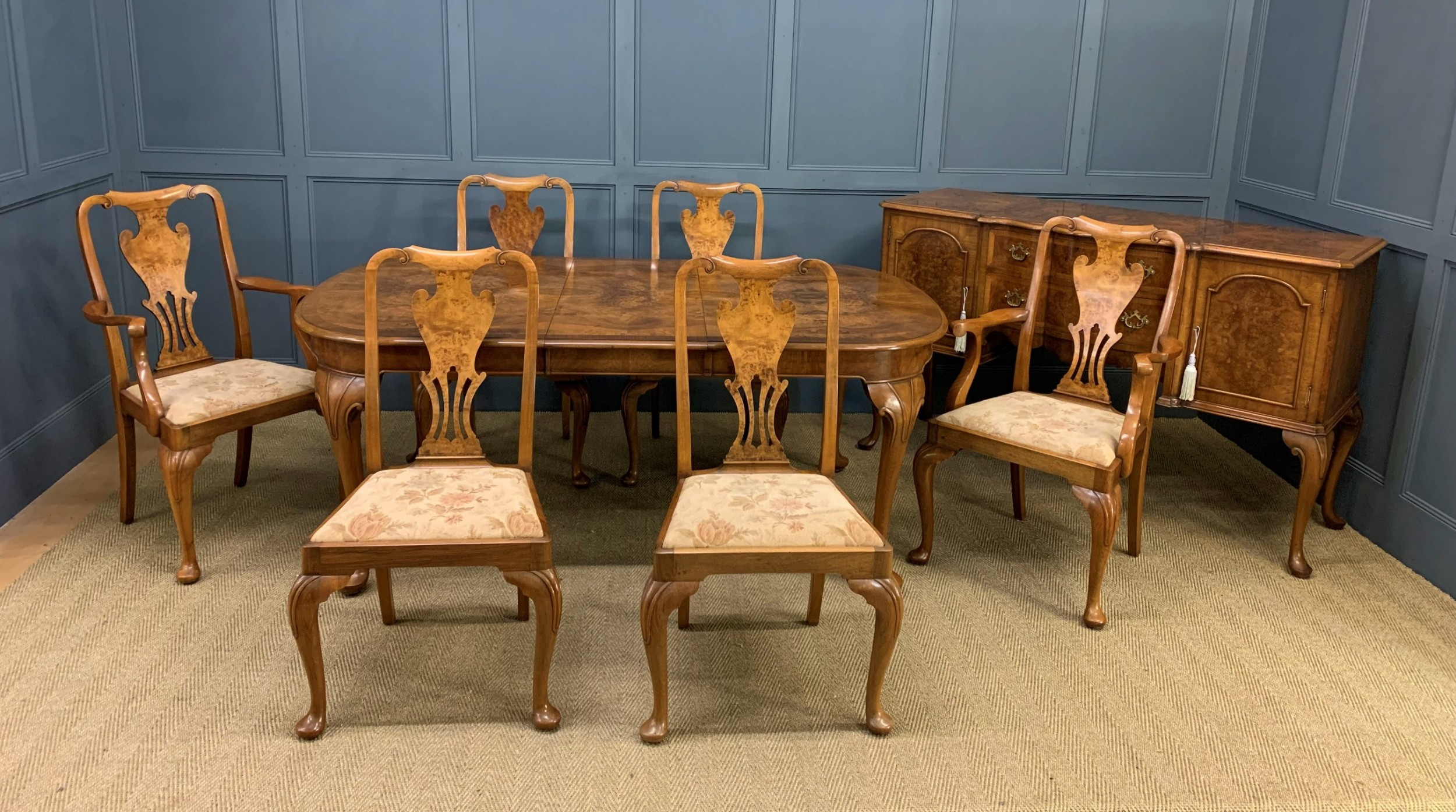 burr walnut dining suite by maple and co