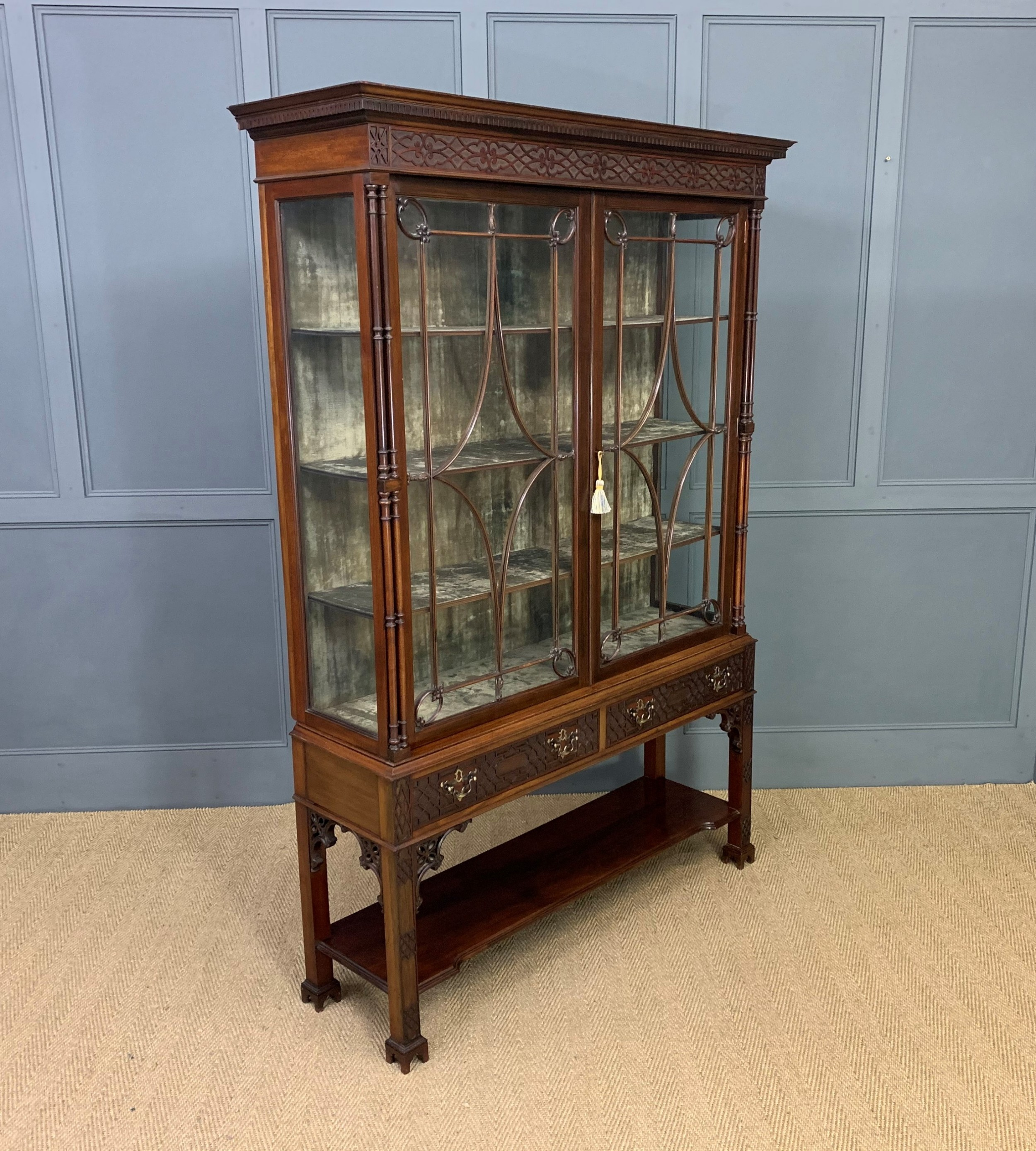 chippendale style mahogany display cabinet