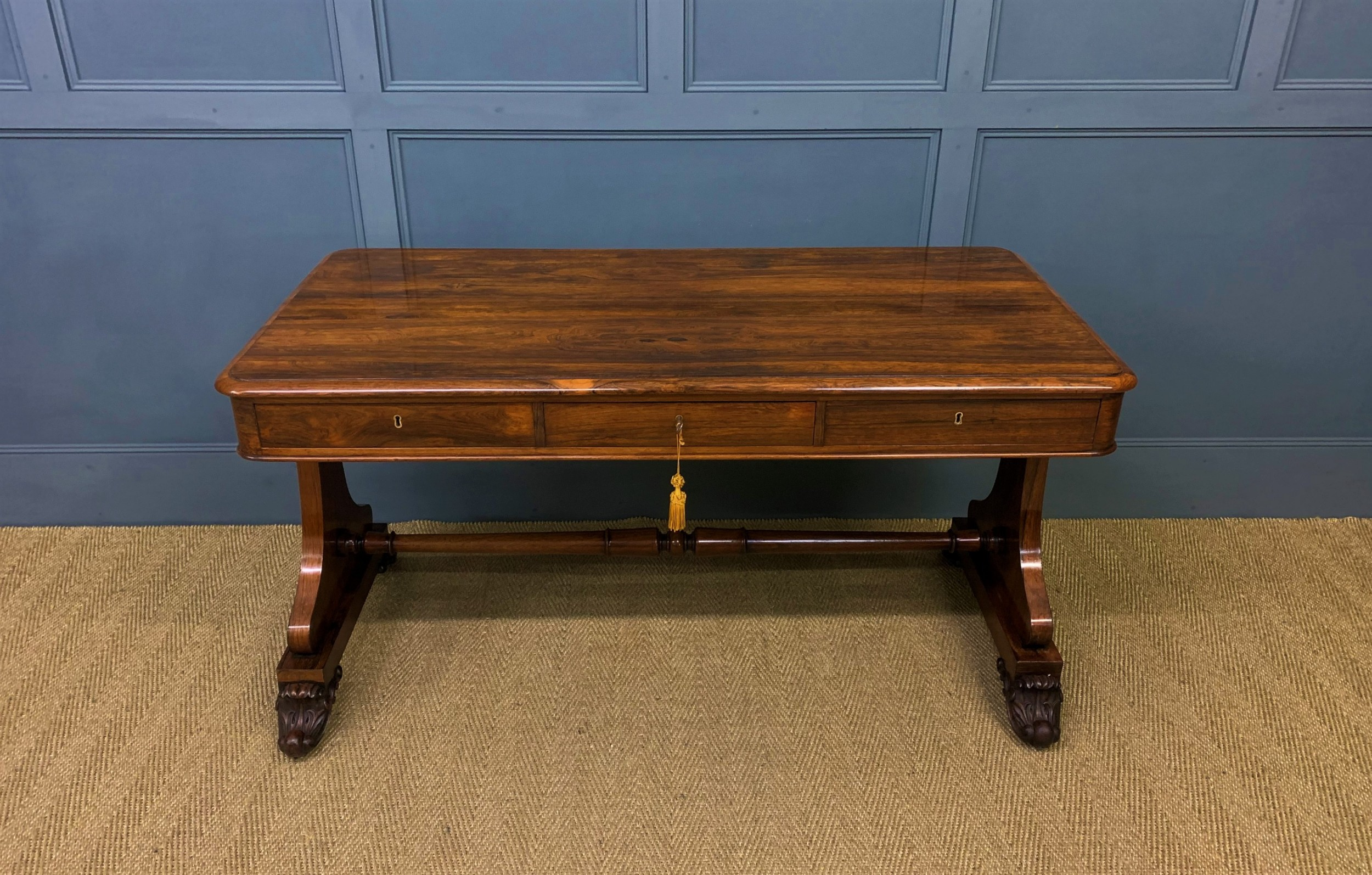 william iv rosewood 3 drawer library table